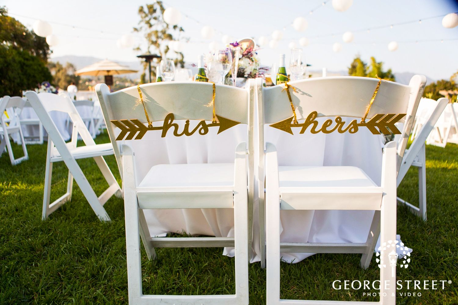 wedding reception chairs his and hers signs