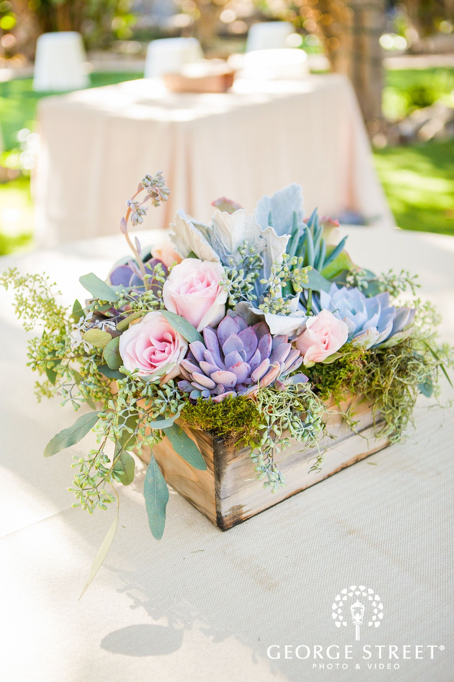 wild flowers and succulents wedding reception decor