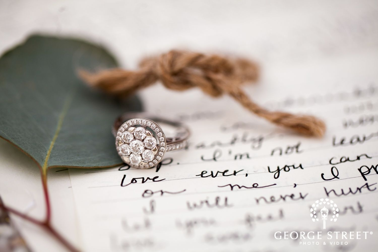 wedding ring with love letters