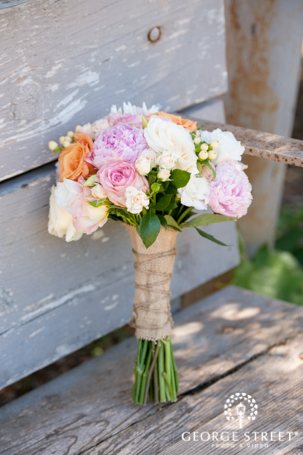 Rustic Country Wildflower Bouquet Roses Pastel Burlap