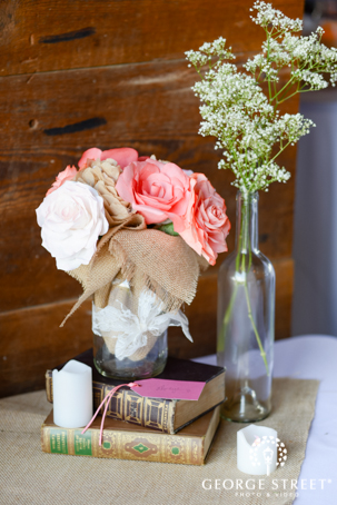 Rustic Country Rose Centerpiece Vintage Books