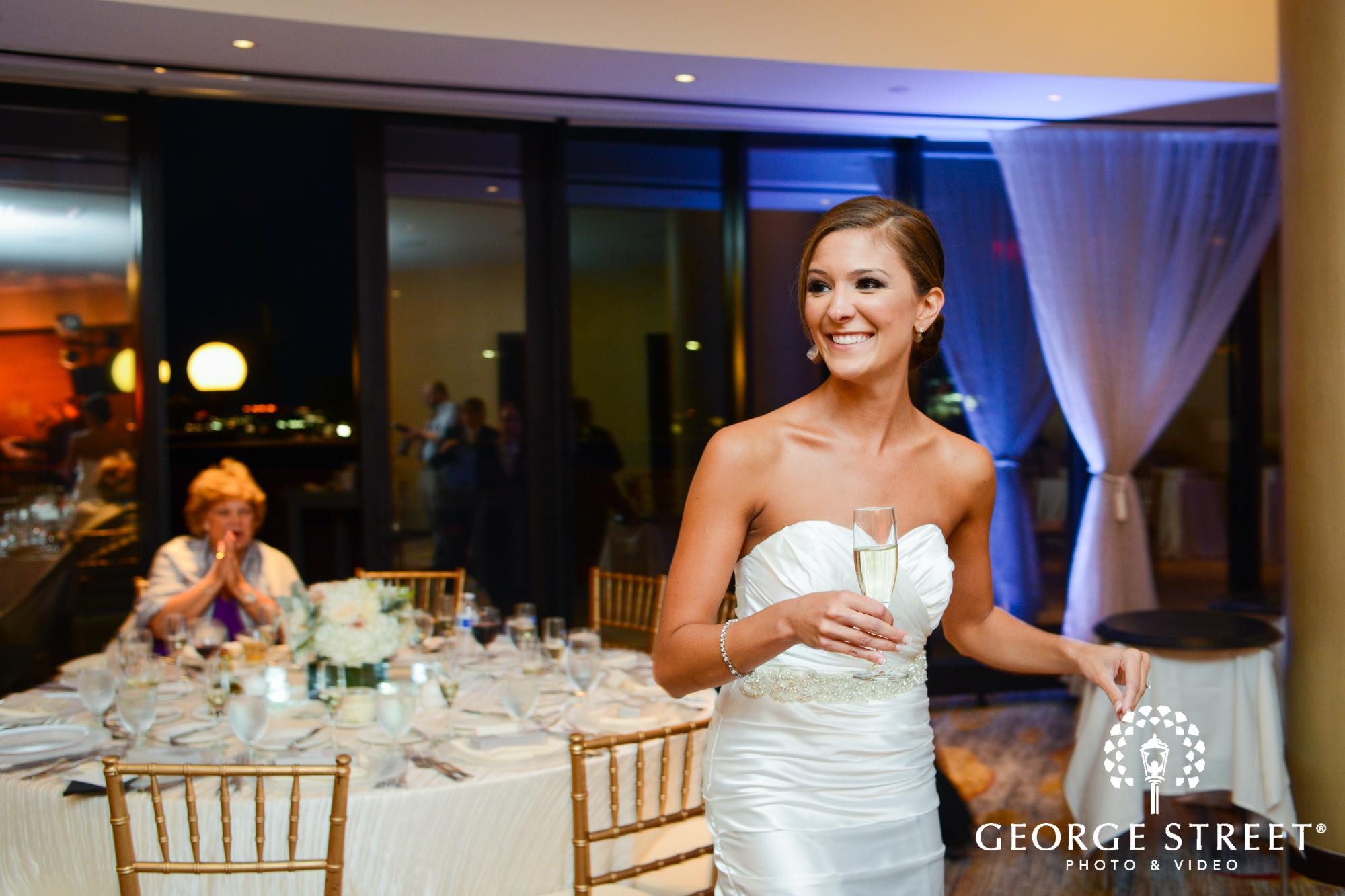 candid bride at reception