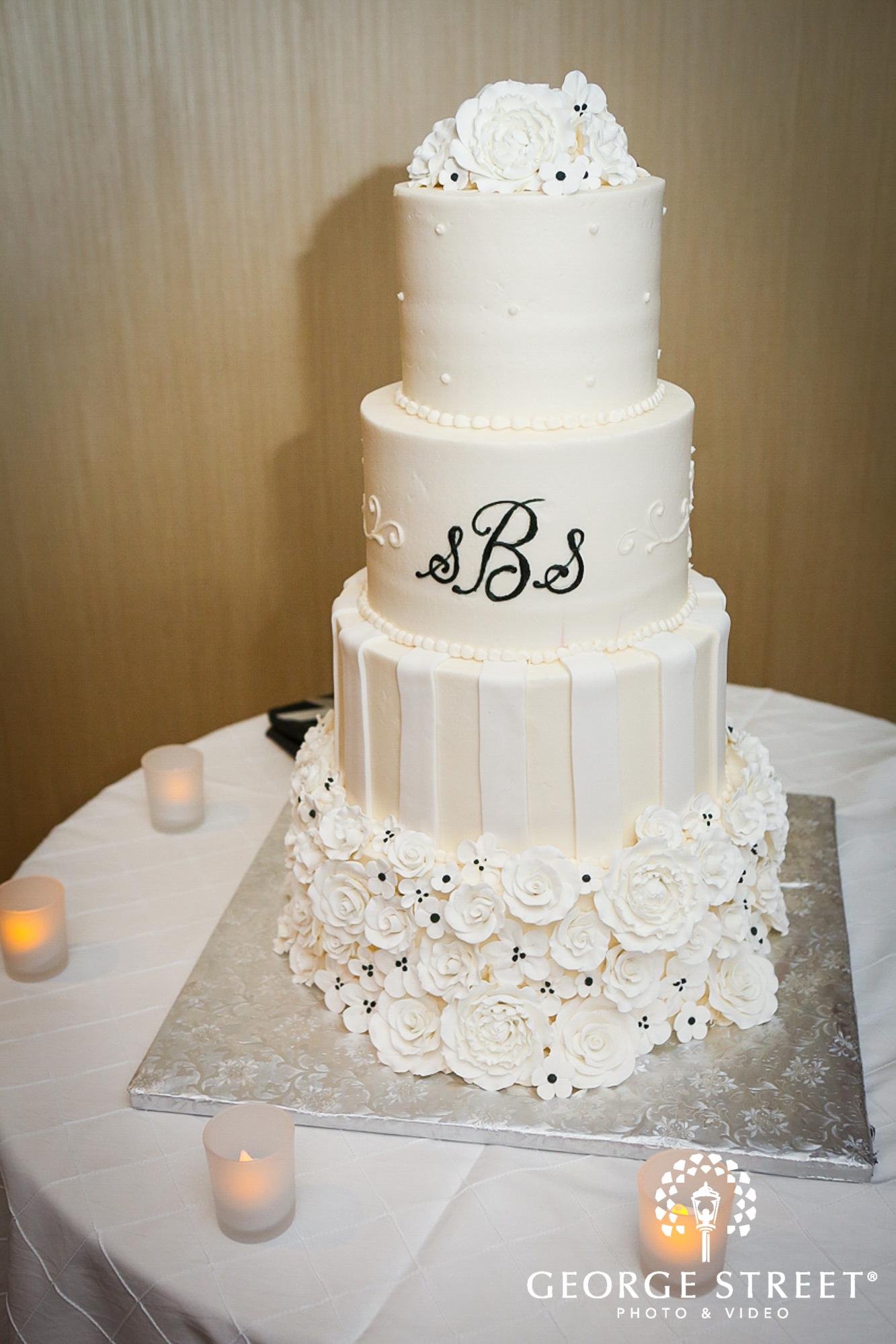 tiered monogram wedding cake
