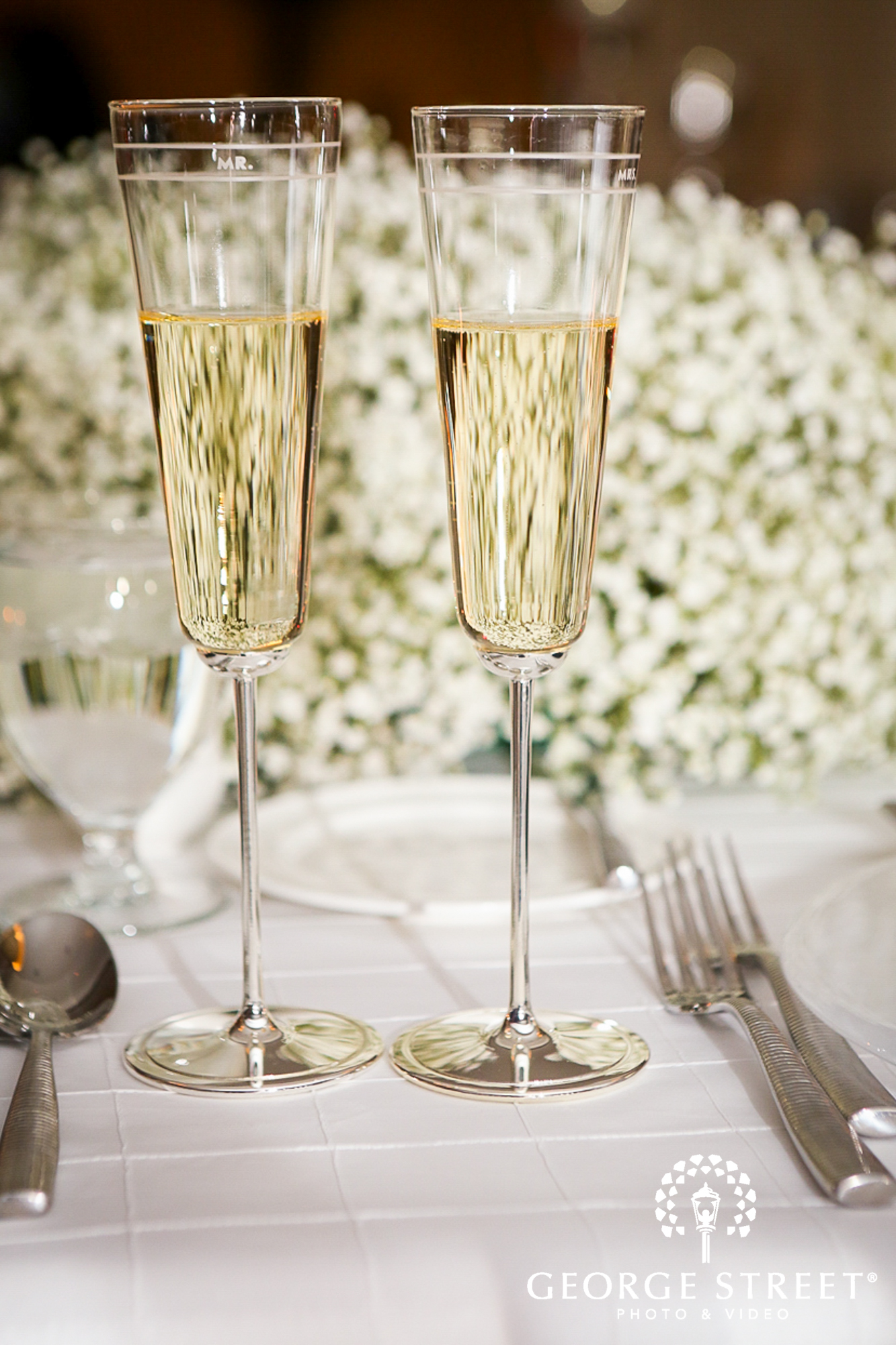 wedding reception champagne glasses