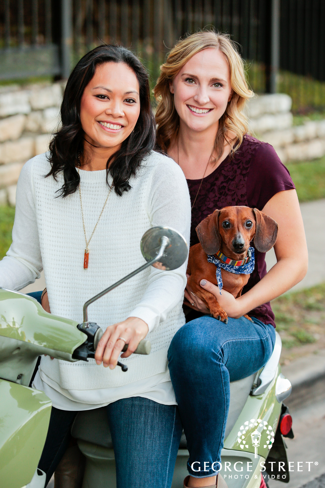 engagement photo session with vespa