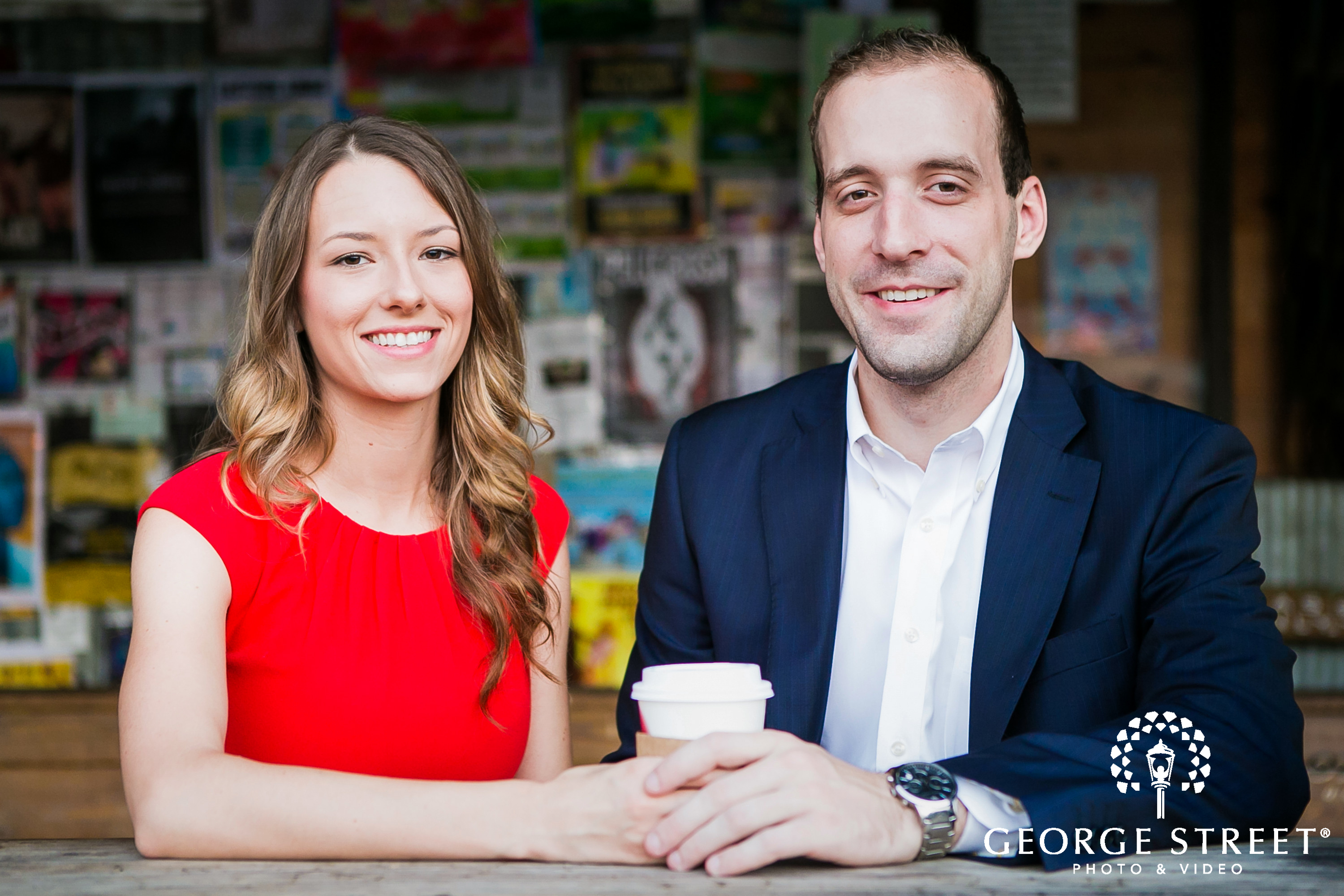 cute coffee cup prop engagement shoot