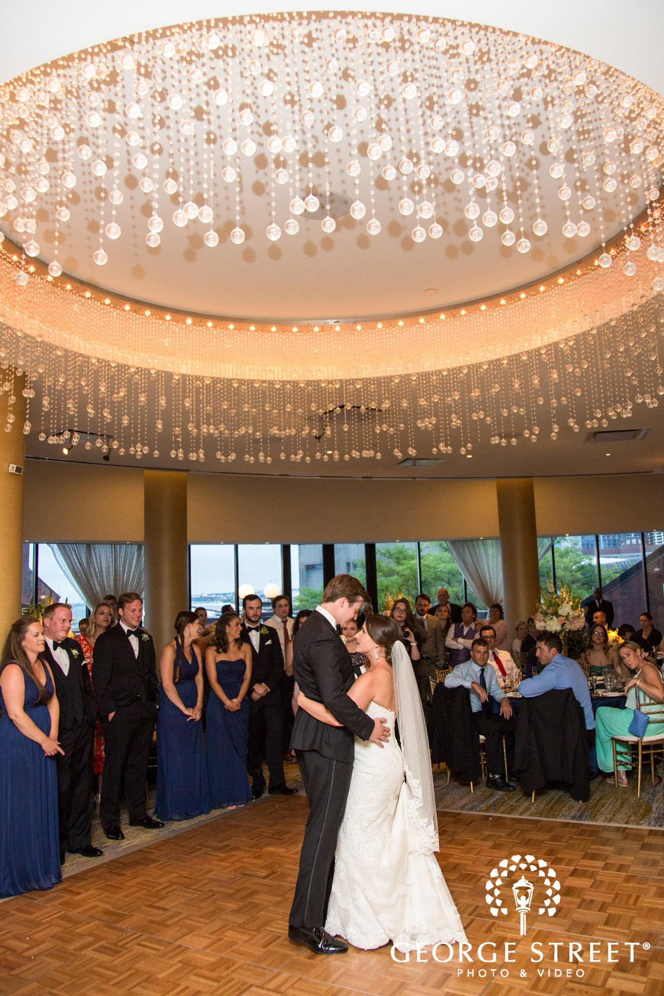 boston marriott long wharf indoor wedding reception bride and groom first dance 2