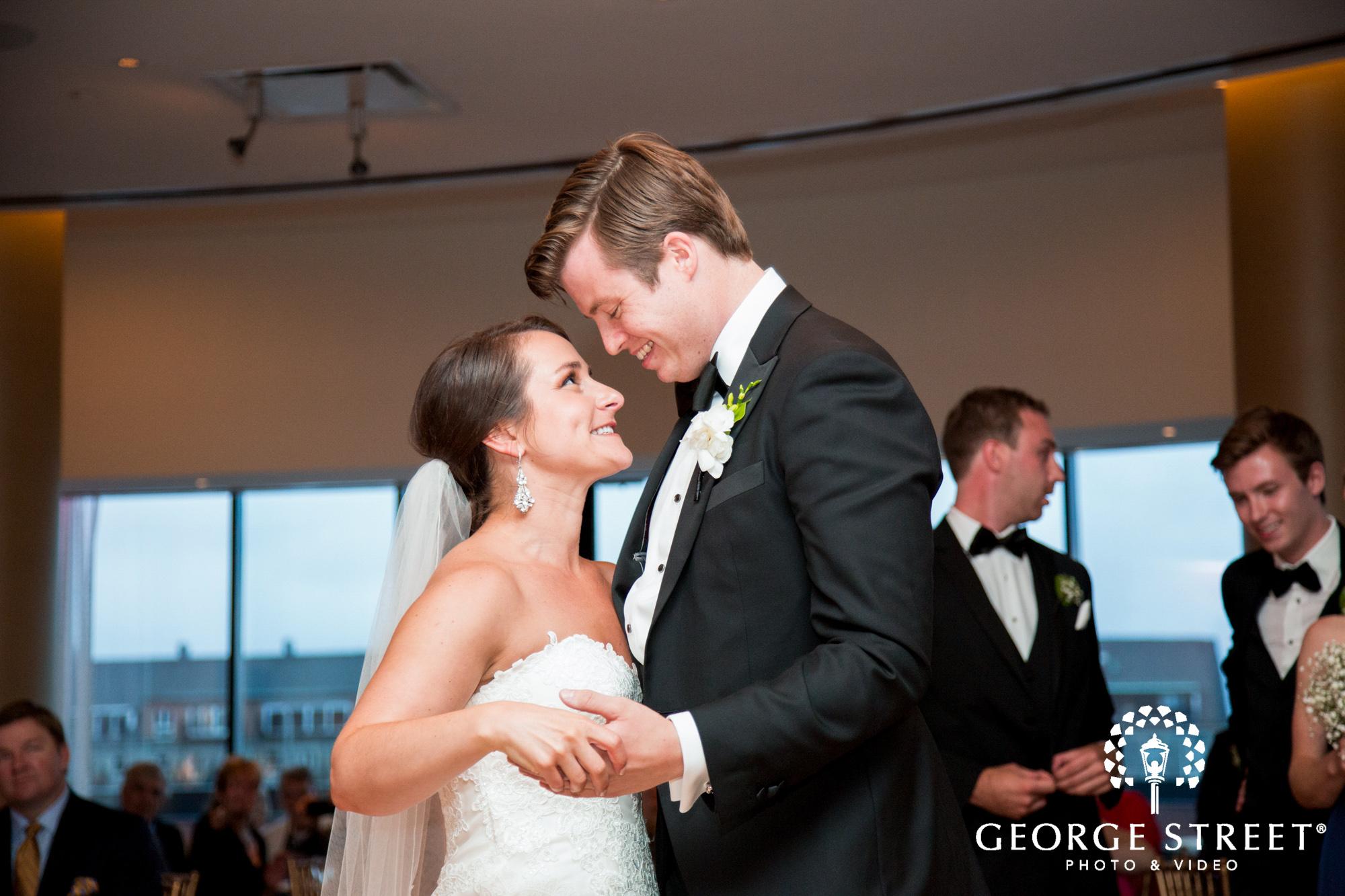 boston marriott long wharf indoor wedding reception bride and groom first dance
