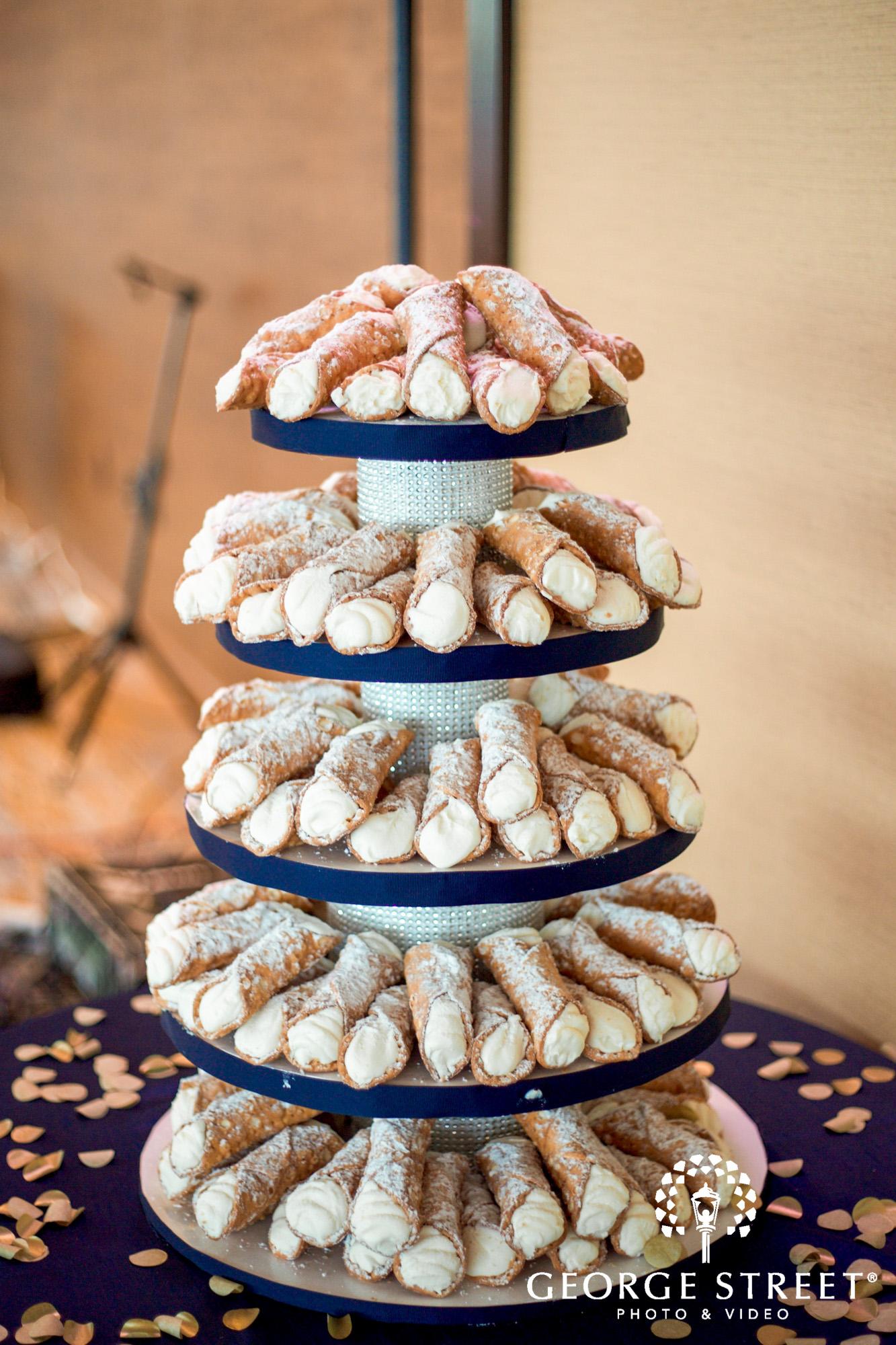 boston marriott long wharf indoor wedding reception cannoli wedding dessert tower