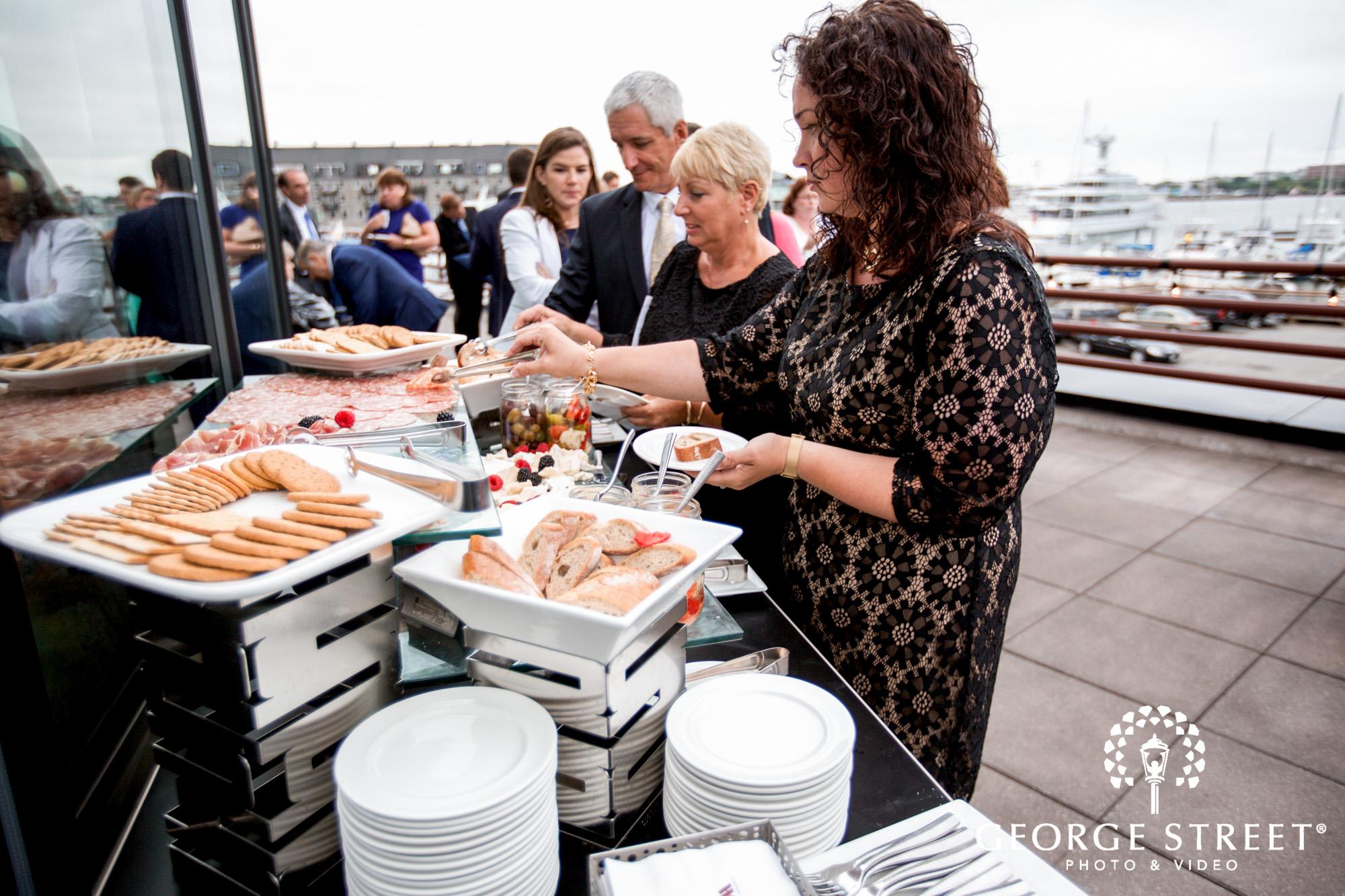 boston marriott long wharf wedding reception outdoor coctail hour