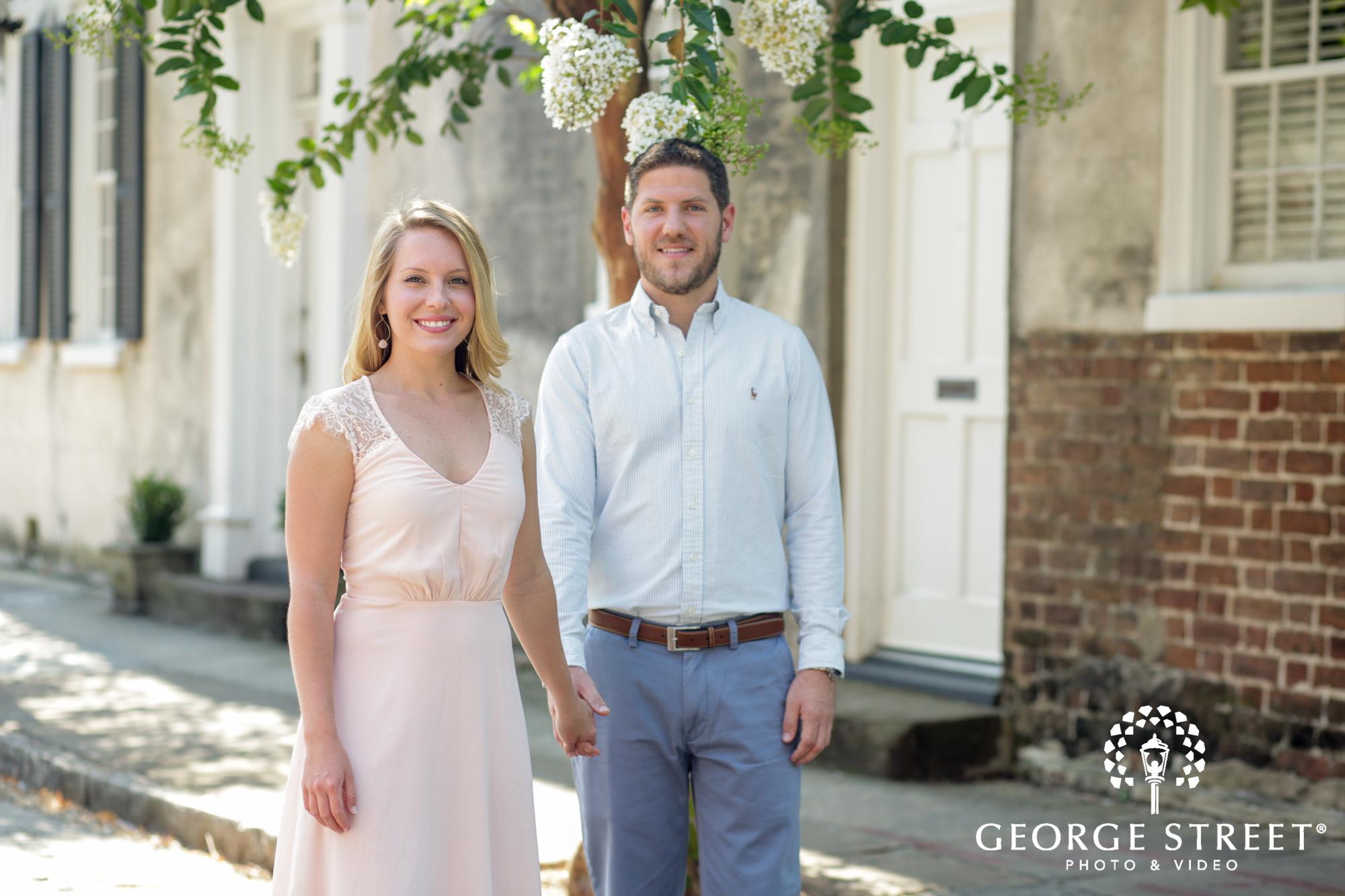 charleston historic district sunny outdoor engagement portraits  2
