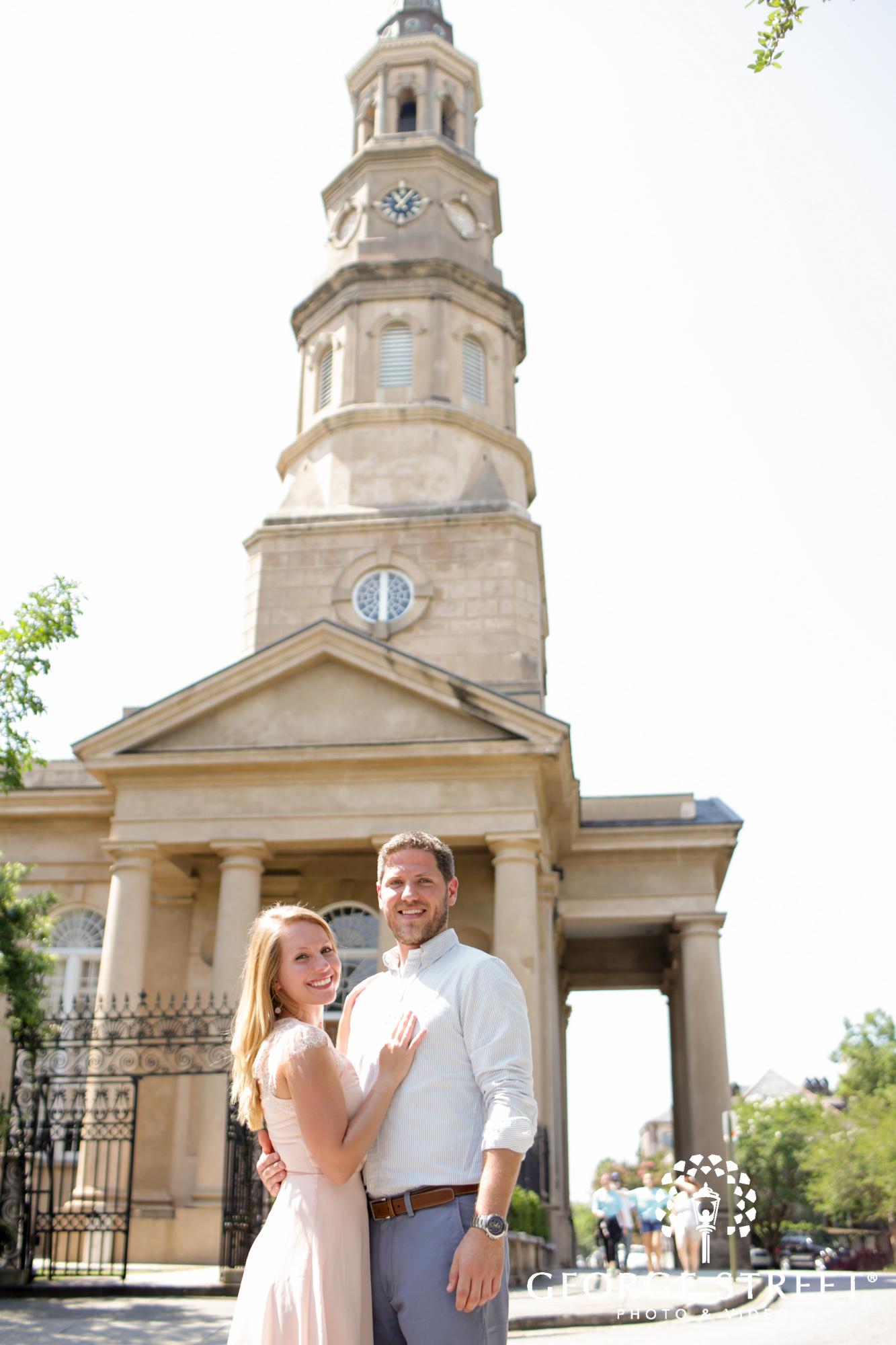 charleston historic district sunny outdoor engagement portraits  9