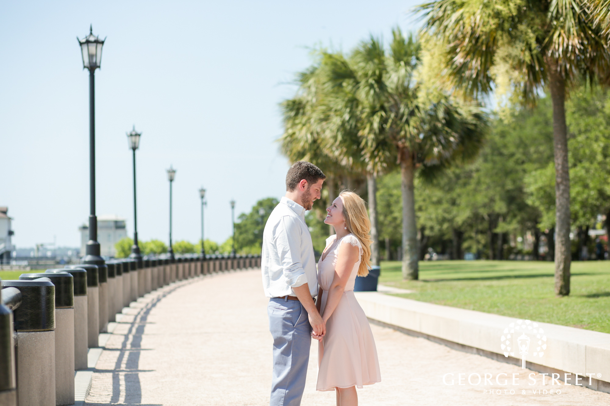 scenic charleston historic district sunny outdoor engagement portraits  2
