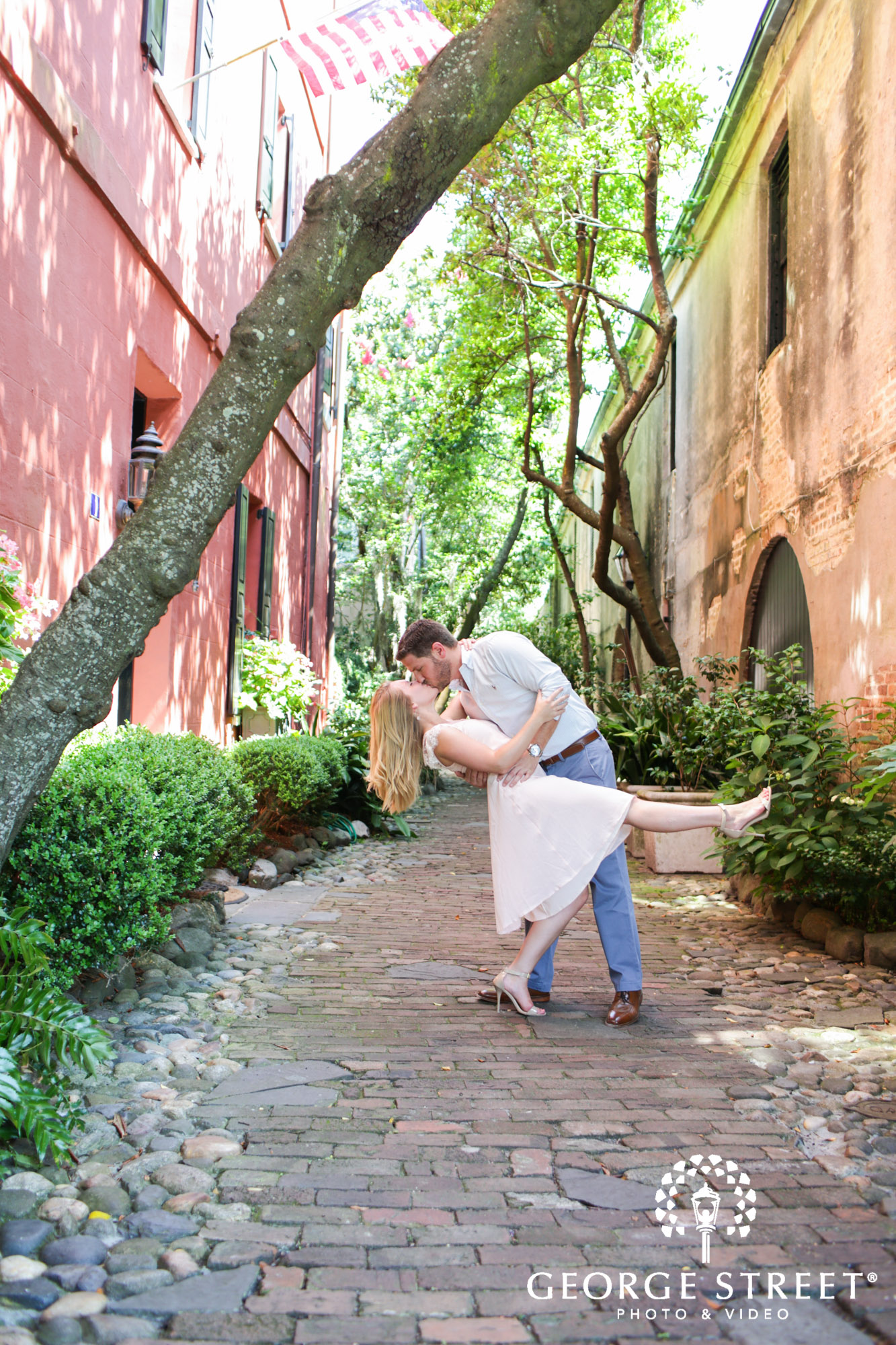 scenic charleston historic district sunny outdoor engagement portraits  3