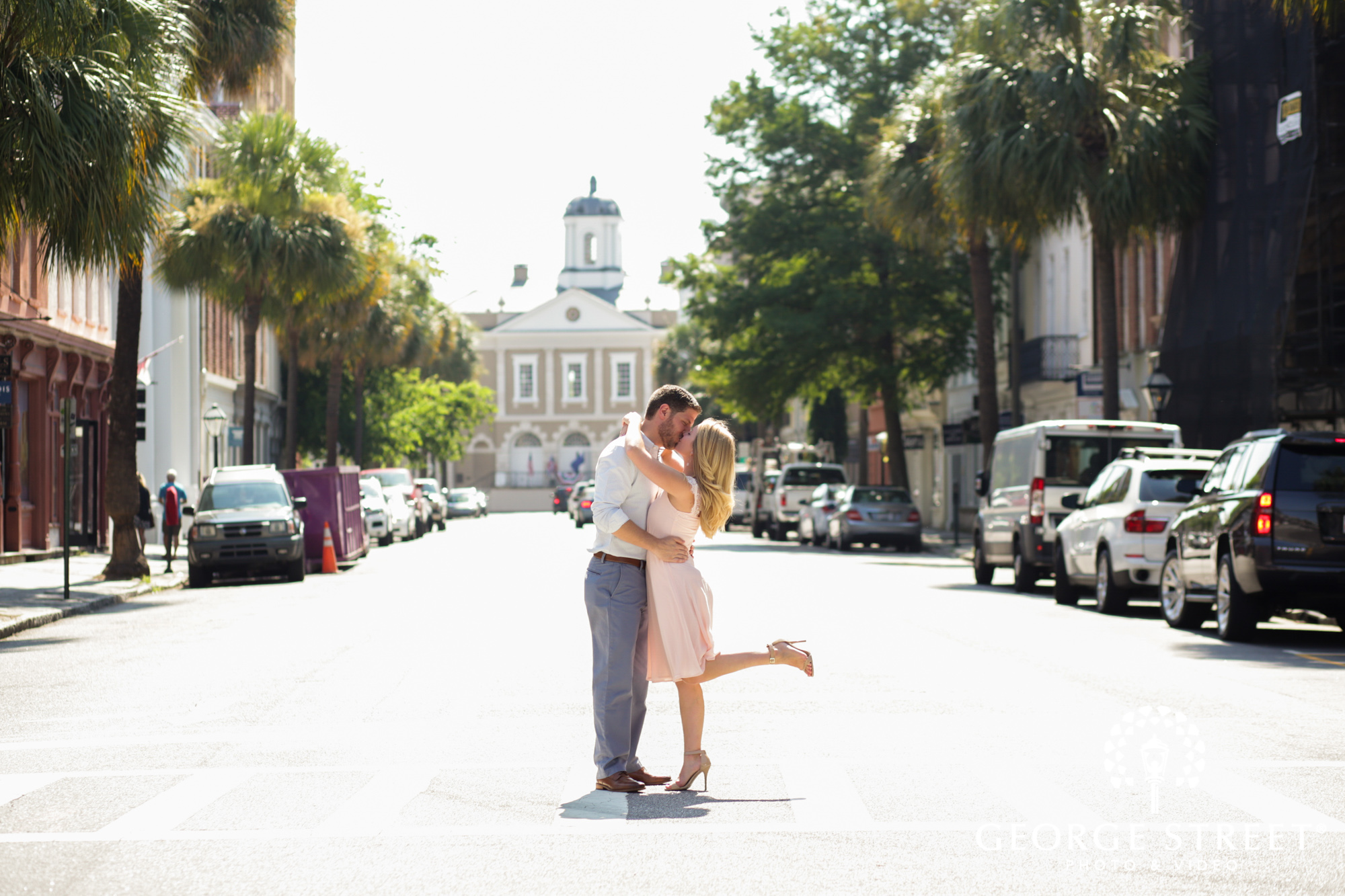 scenic charleston historic district sunny outdoor engagement portraits