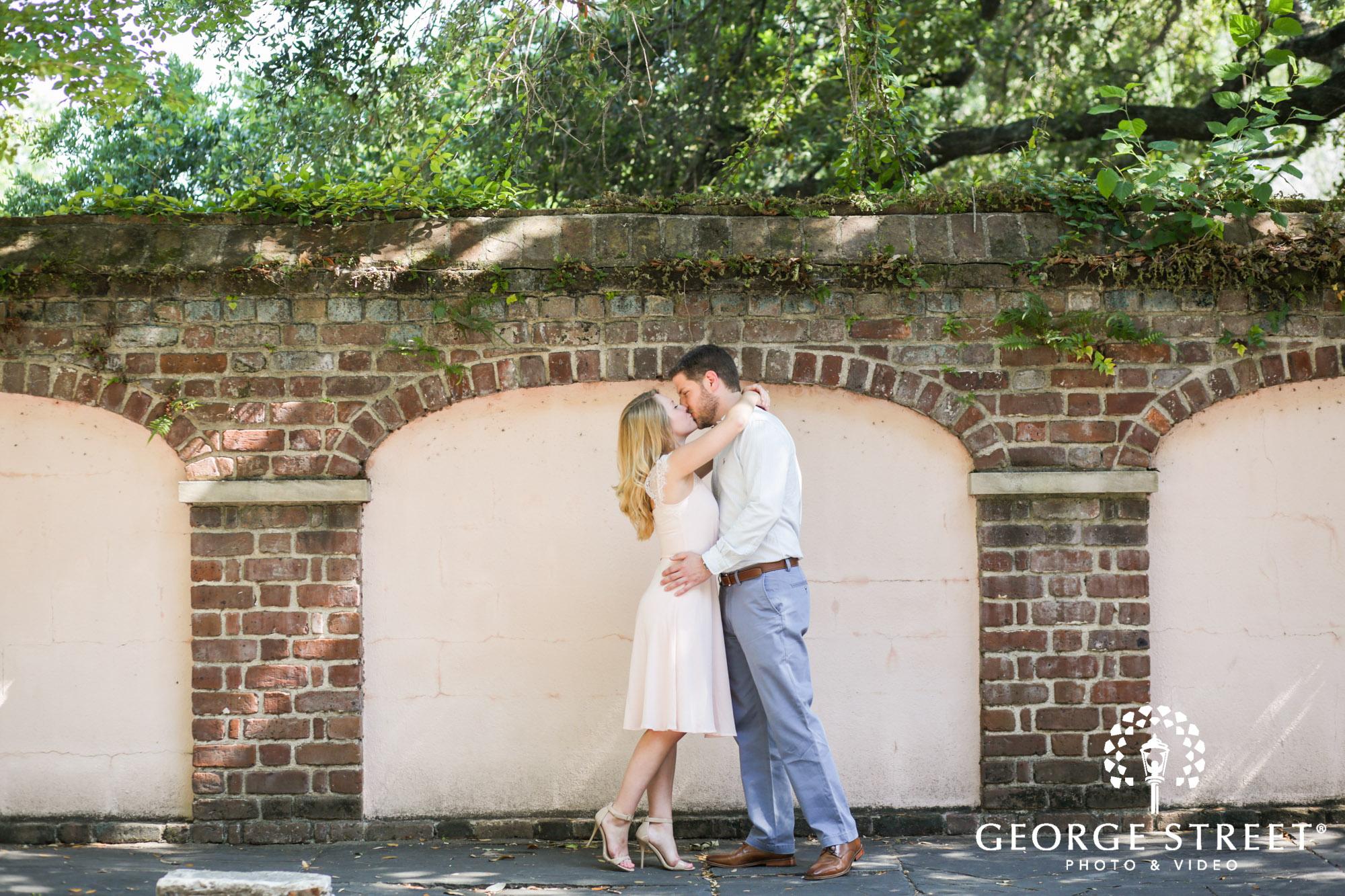 summer charleston historic district sunny outdoor engagement portraits  4