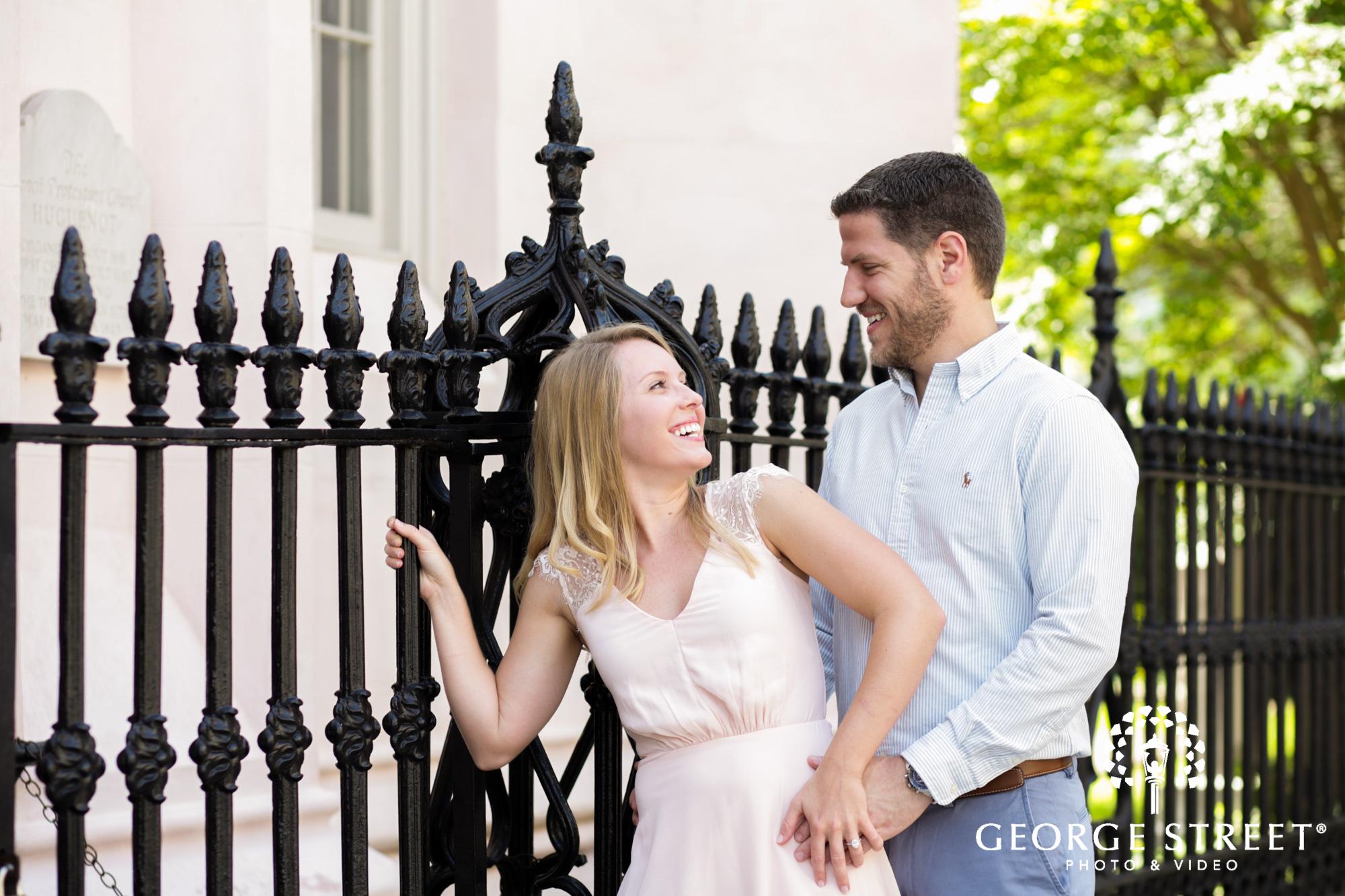 summer charleston historic district sunny outdoor engagement portraits
