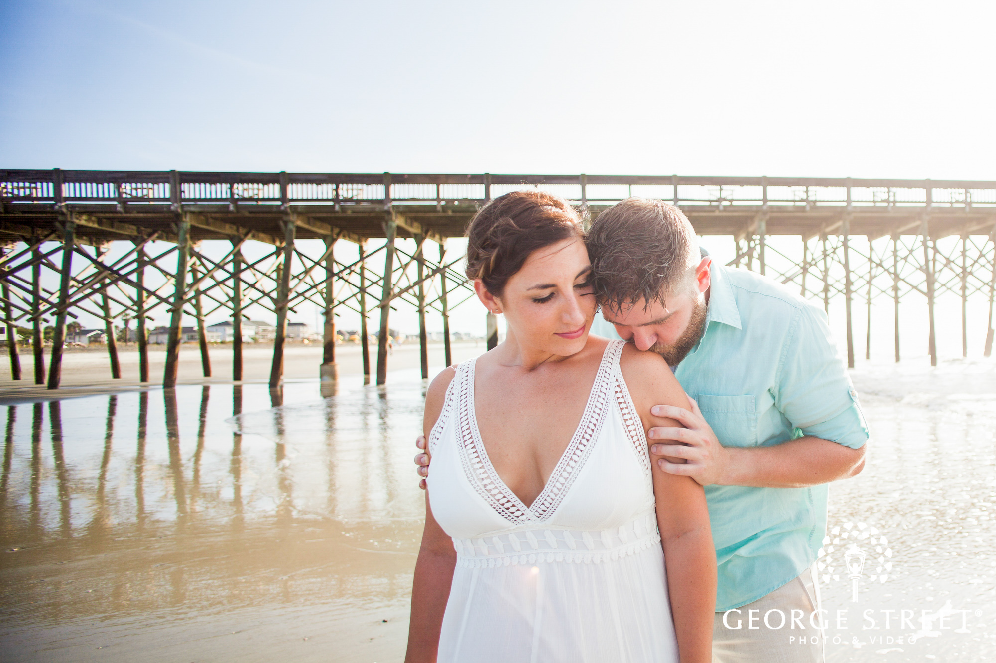 beautiful engagement photos at folly beach pier charleston 4