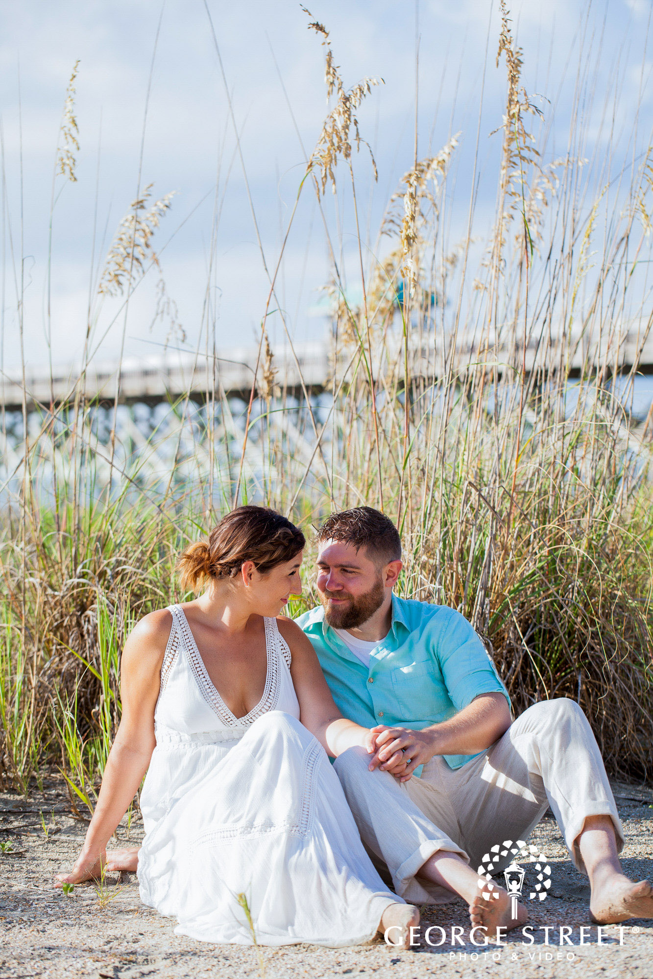 bright and airy charleston engagement photo session