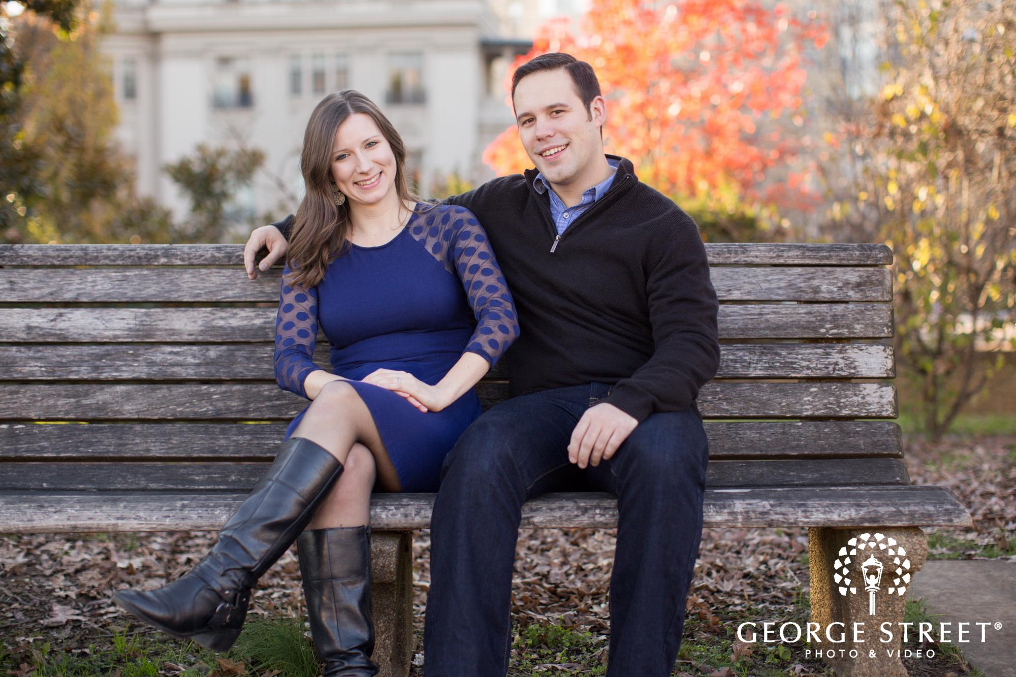 engagement portrait on park bench