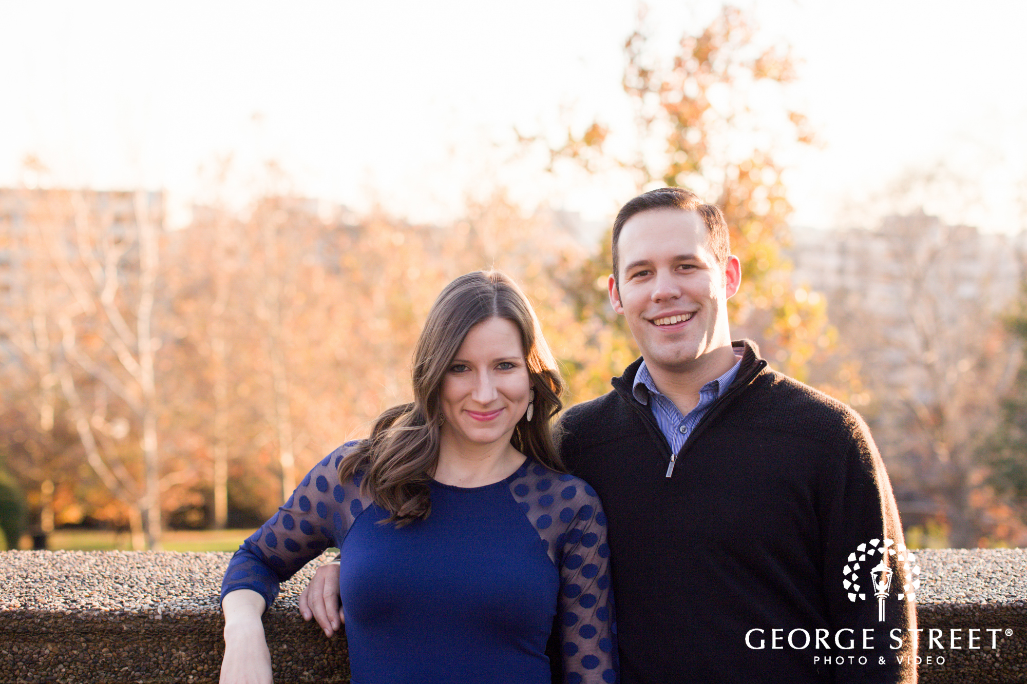 smiling couple fall engagement session