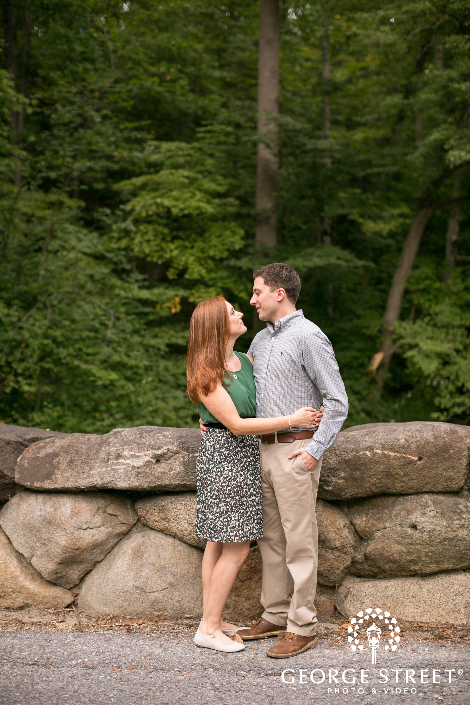 couple admiring each other in engagement photo