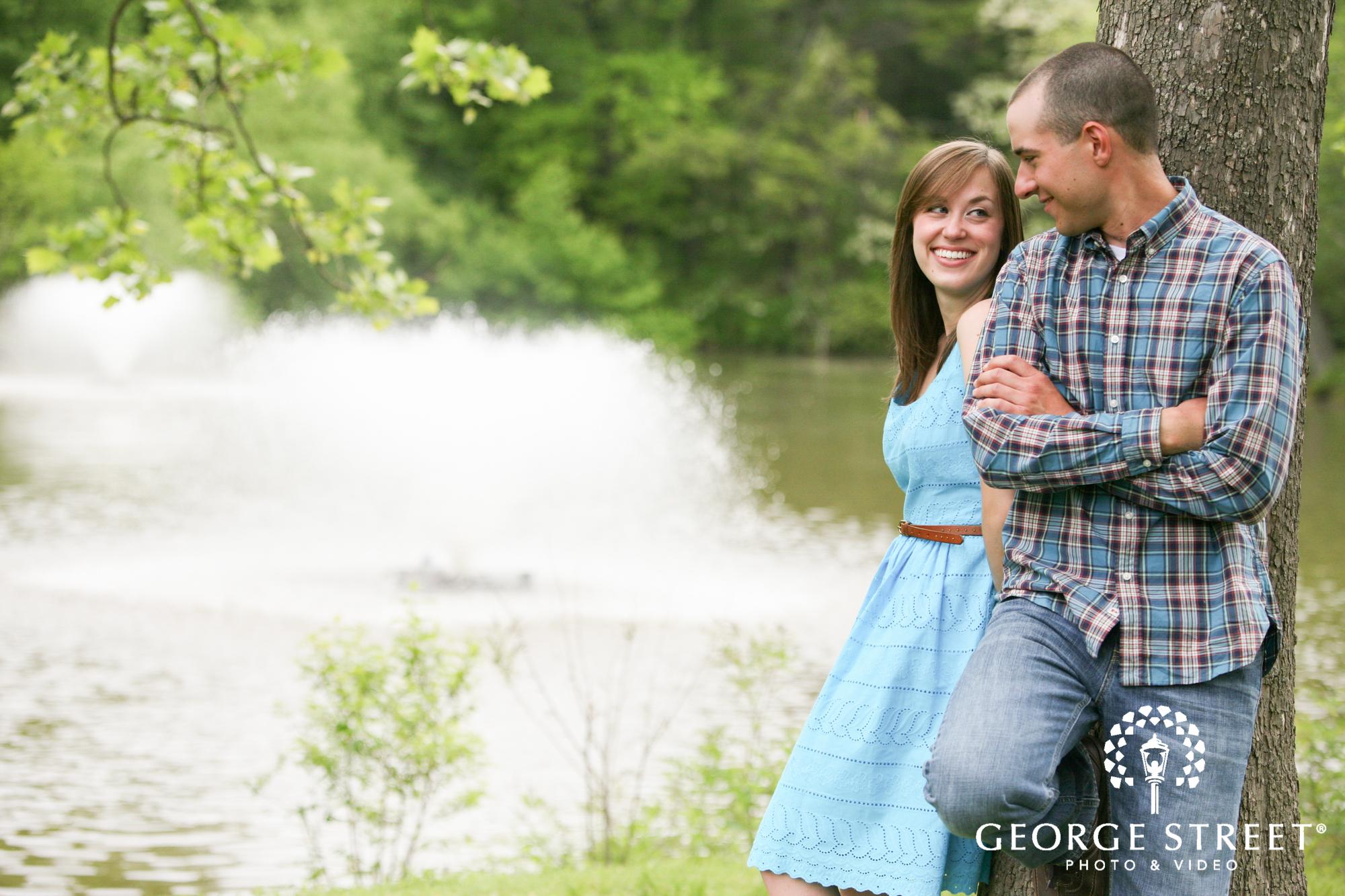 engagement portrait by lake