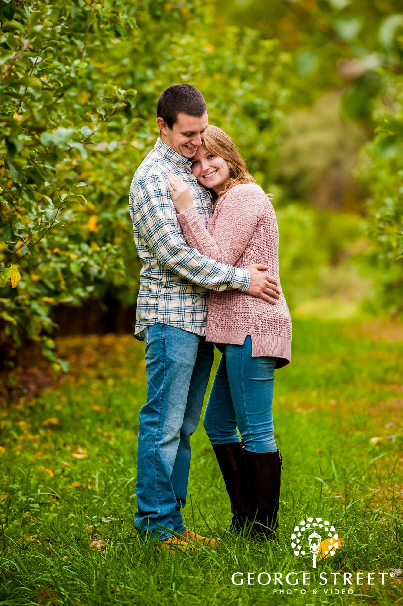 lyman orchards cute greenery sweater hartford engagement photography 9