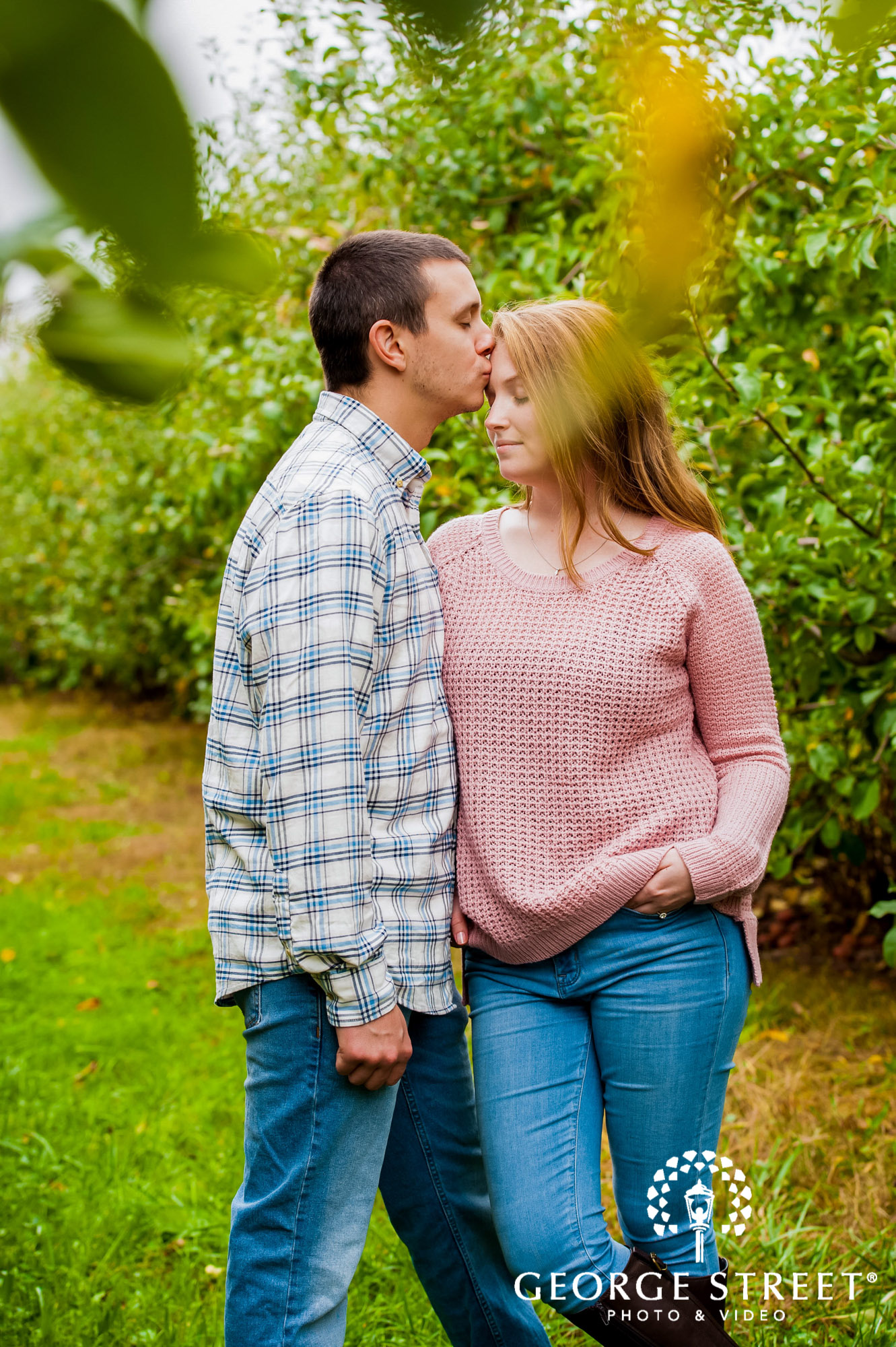 lyman orchards cute greenery sweater hartford engagement photography 10