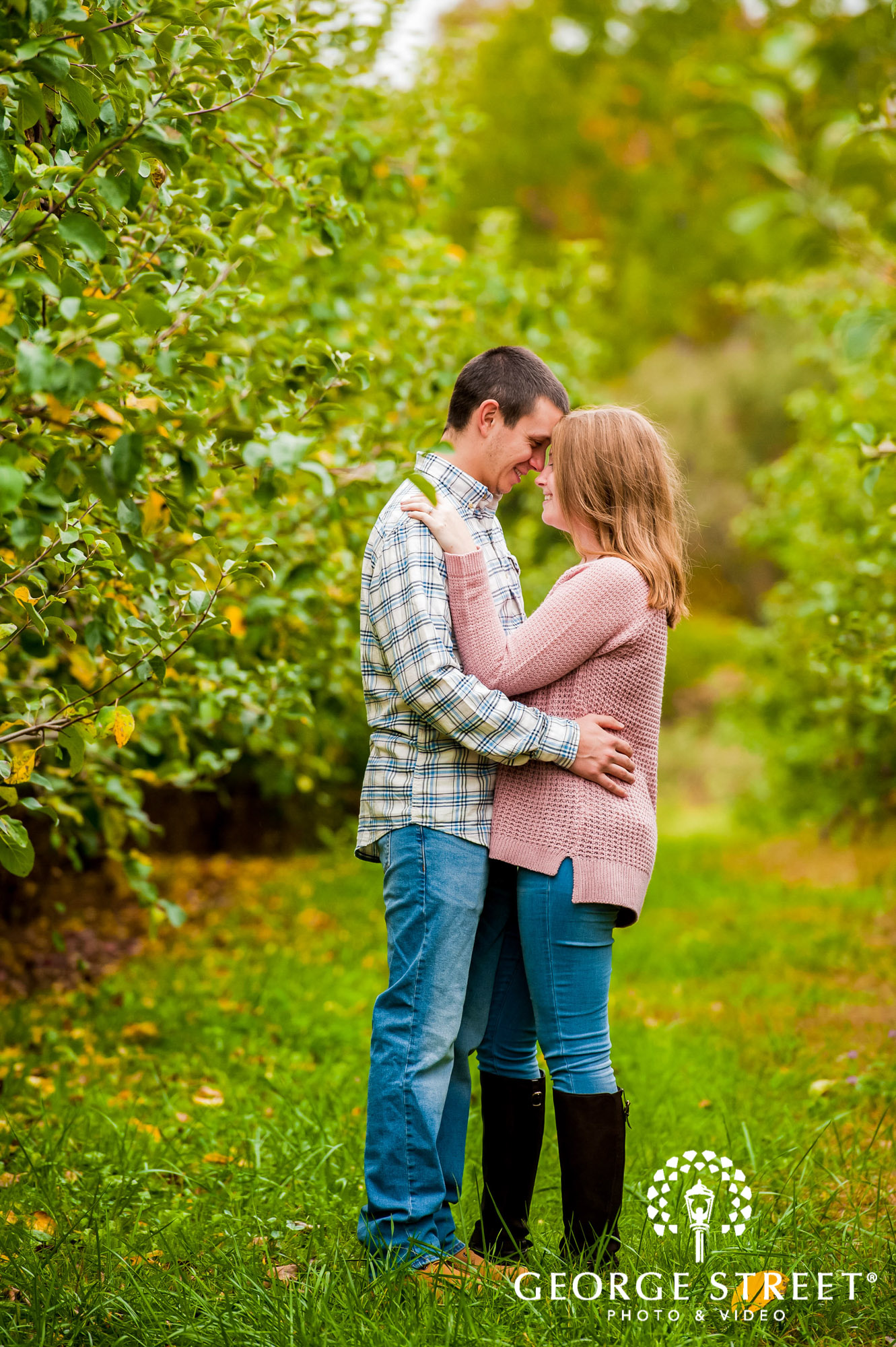 lyman orchards cute greenery sweater hartford engagement photography 8