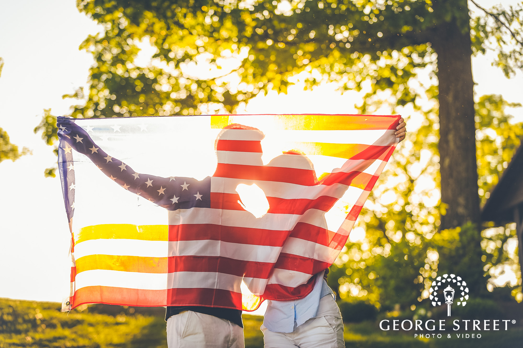glowing american flag engagement photos 2