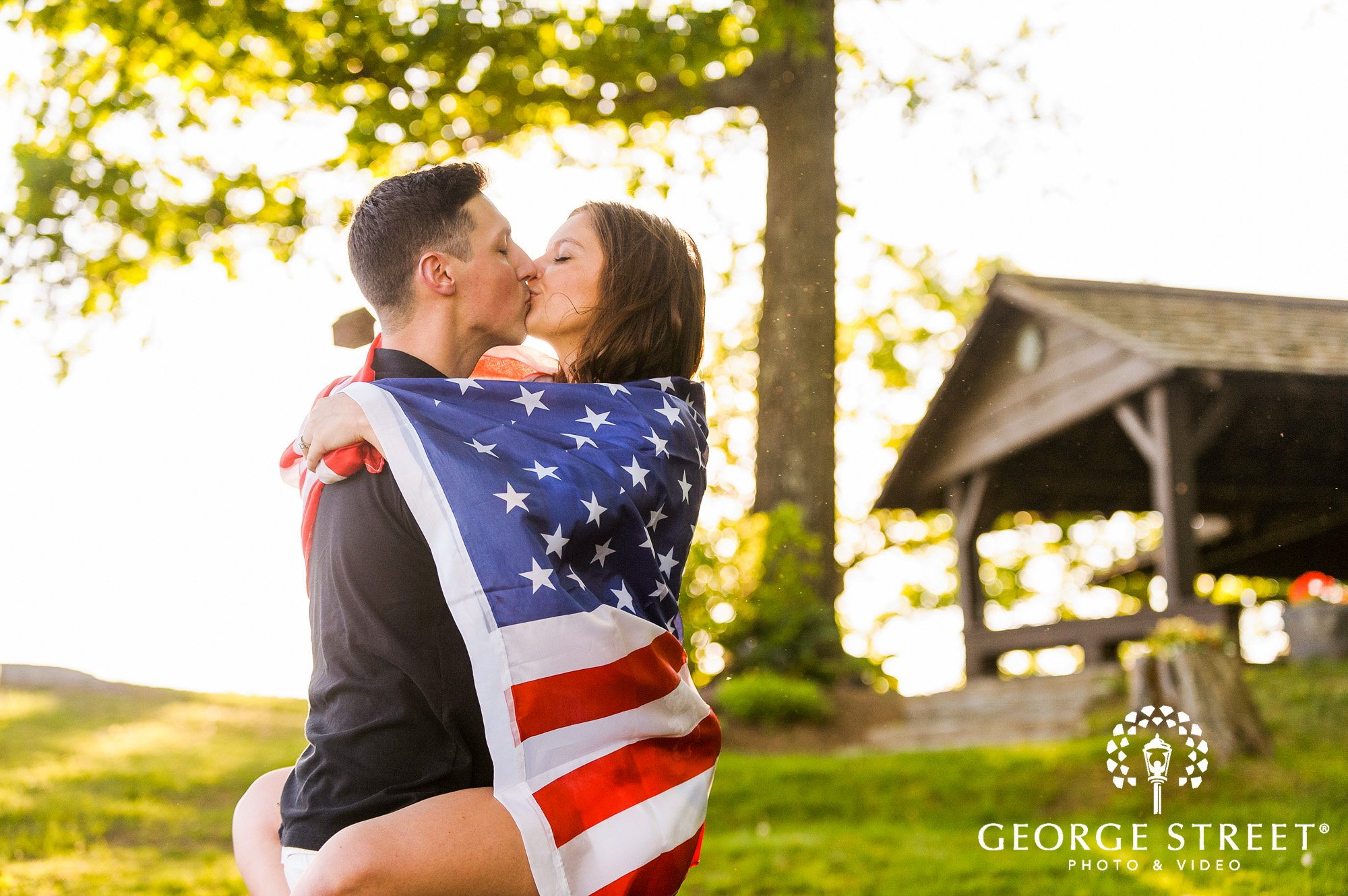 glowing american flag engagement photos