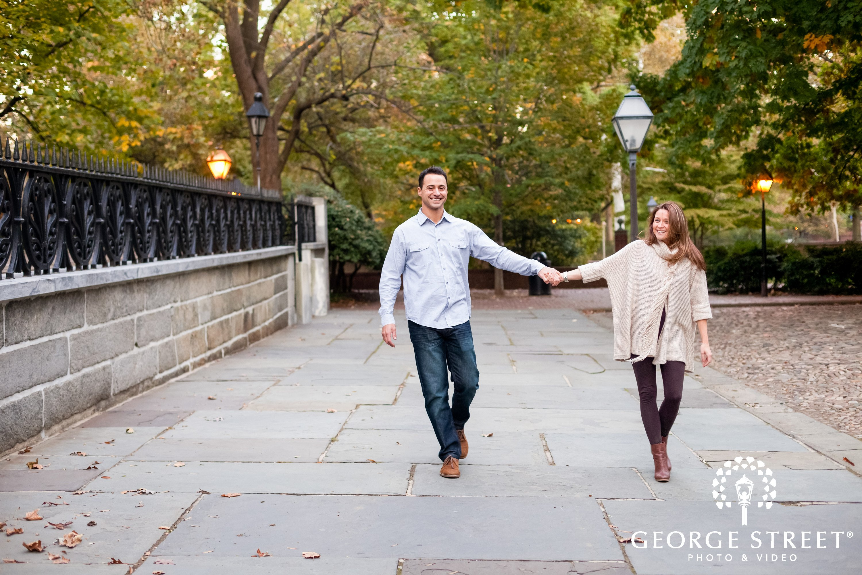fun couple engagement session