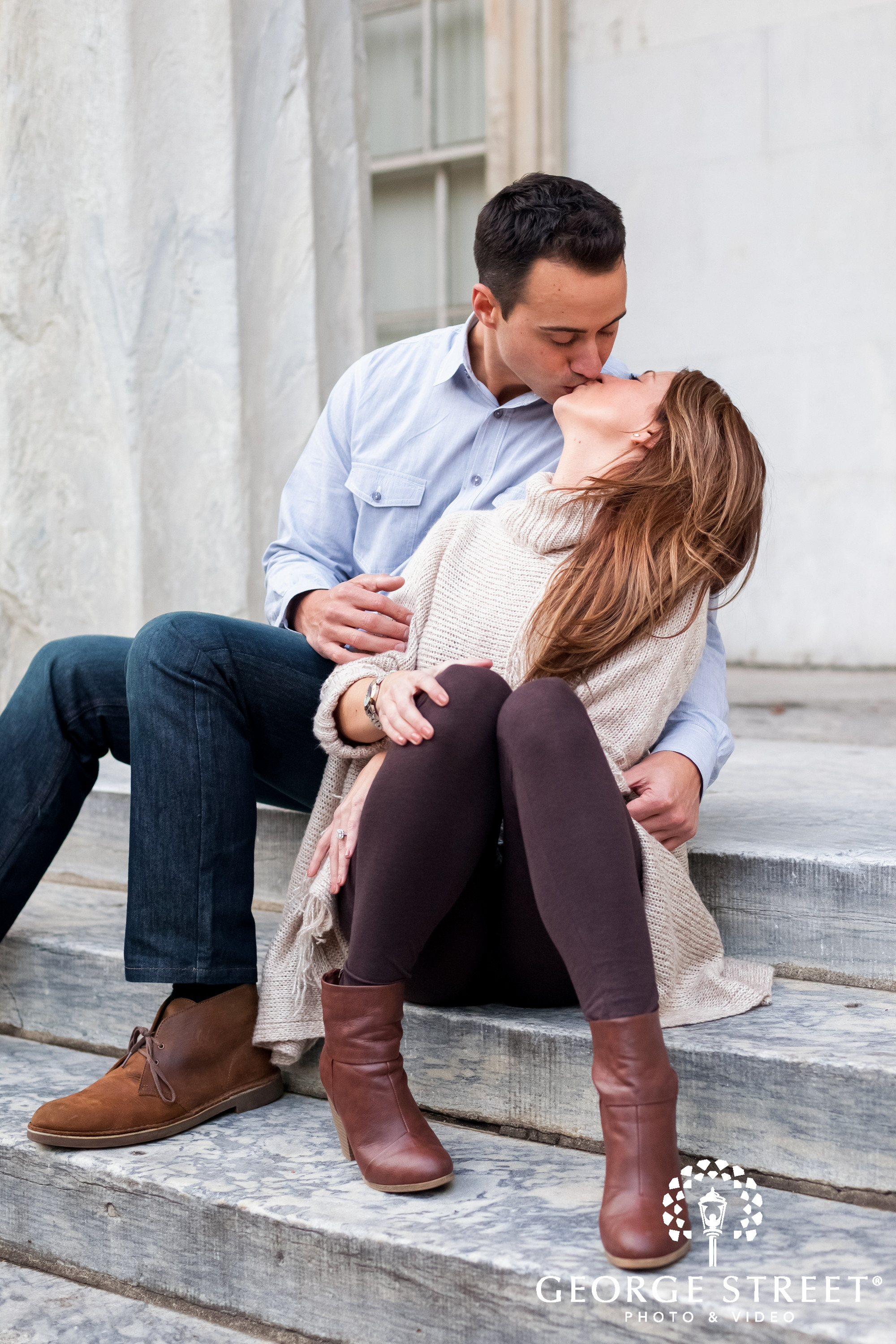 candid kiss engagement session