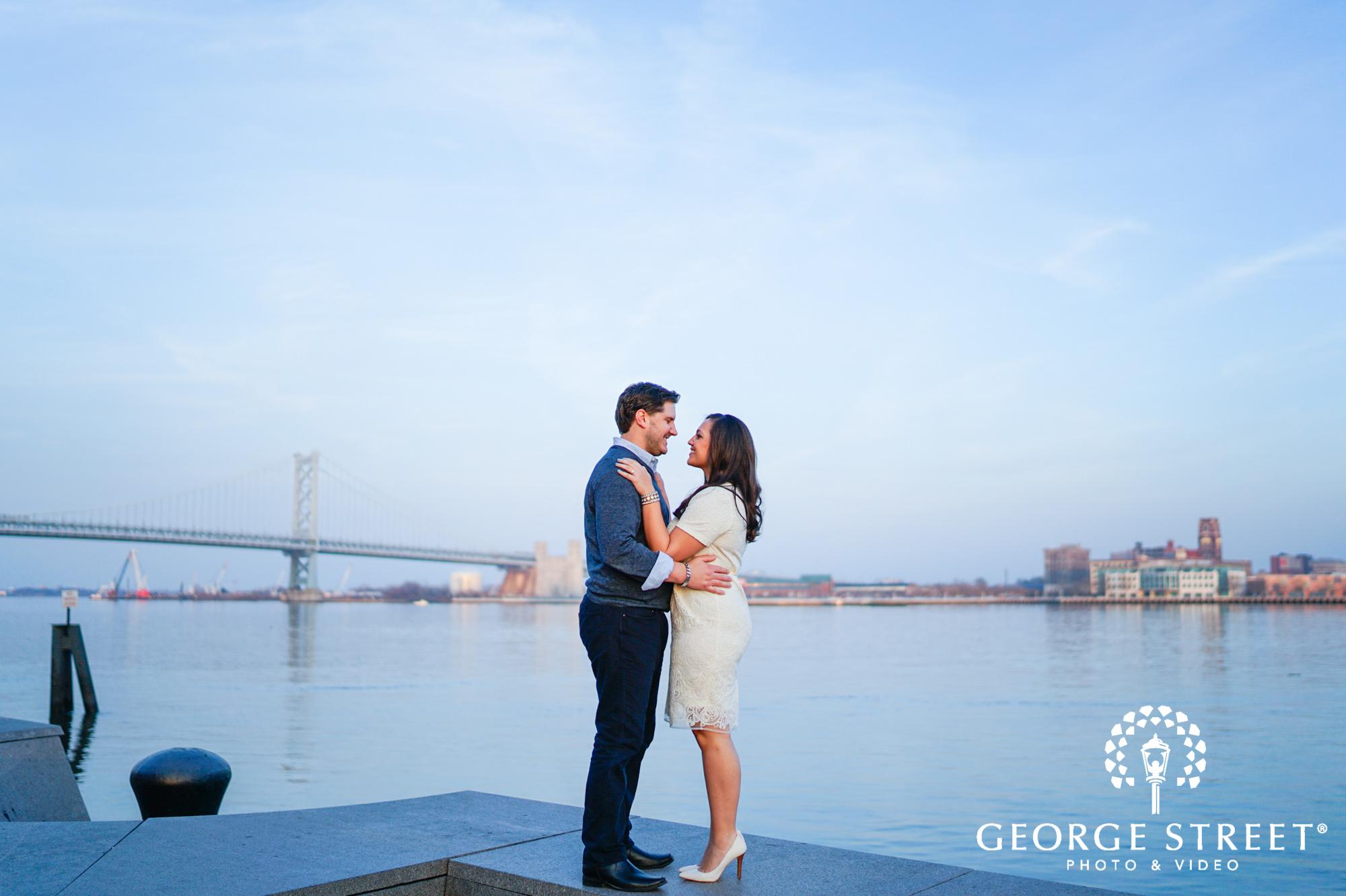 blue hour engagement photos at boathouse row philadelphia