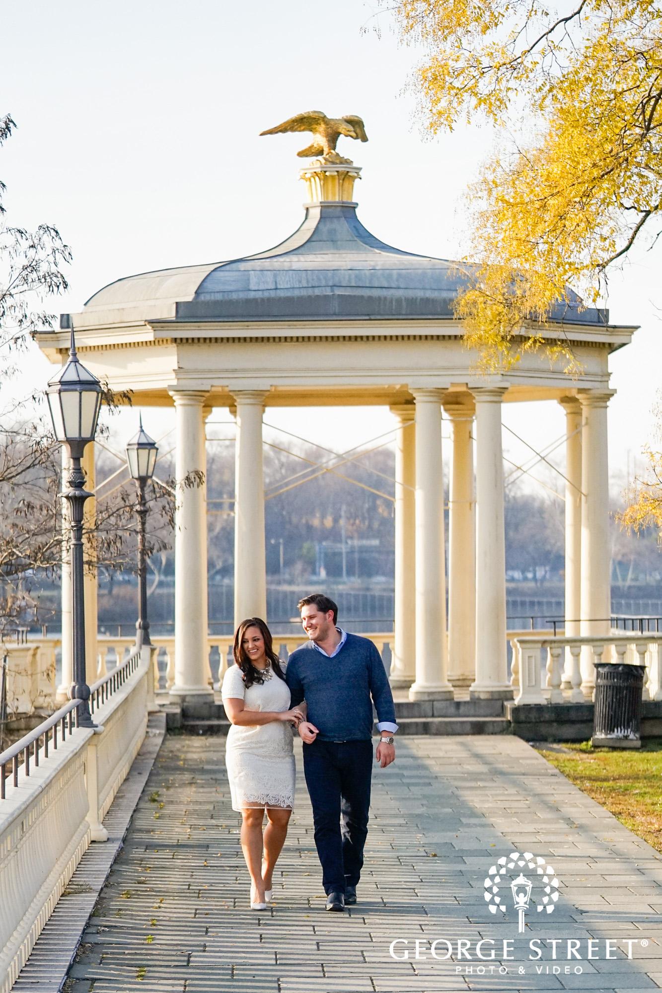 bright and sunny engagement photos at boathouse row philadelphia