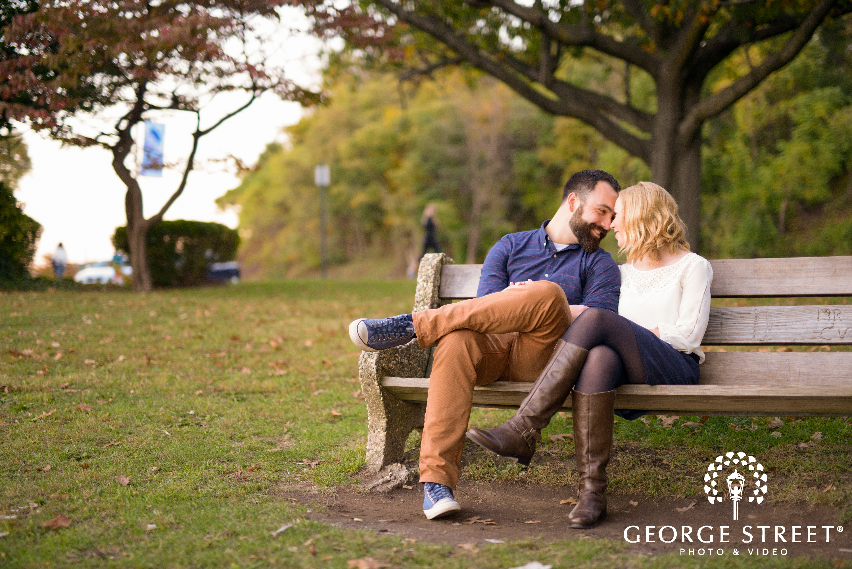 couple on bench in fairmount park philadelphia