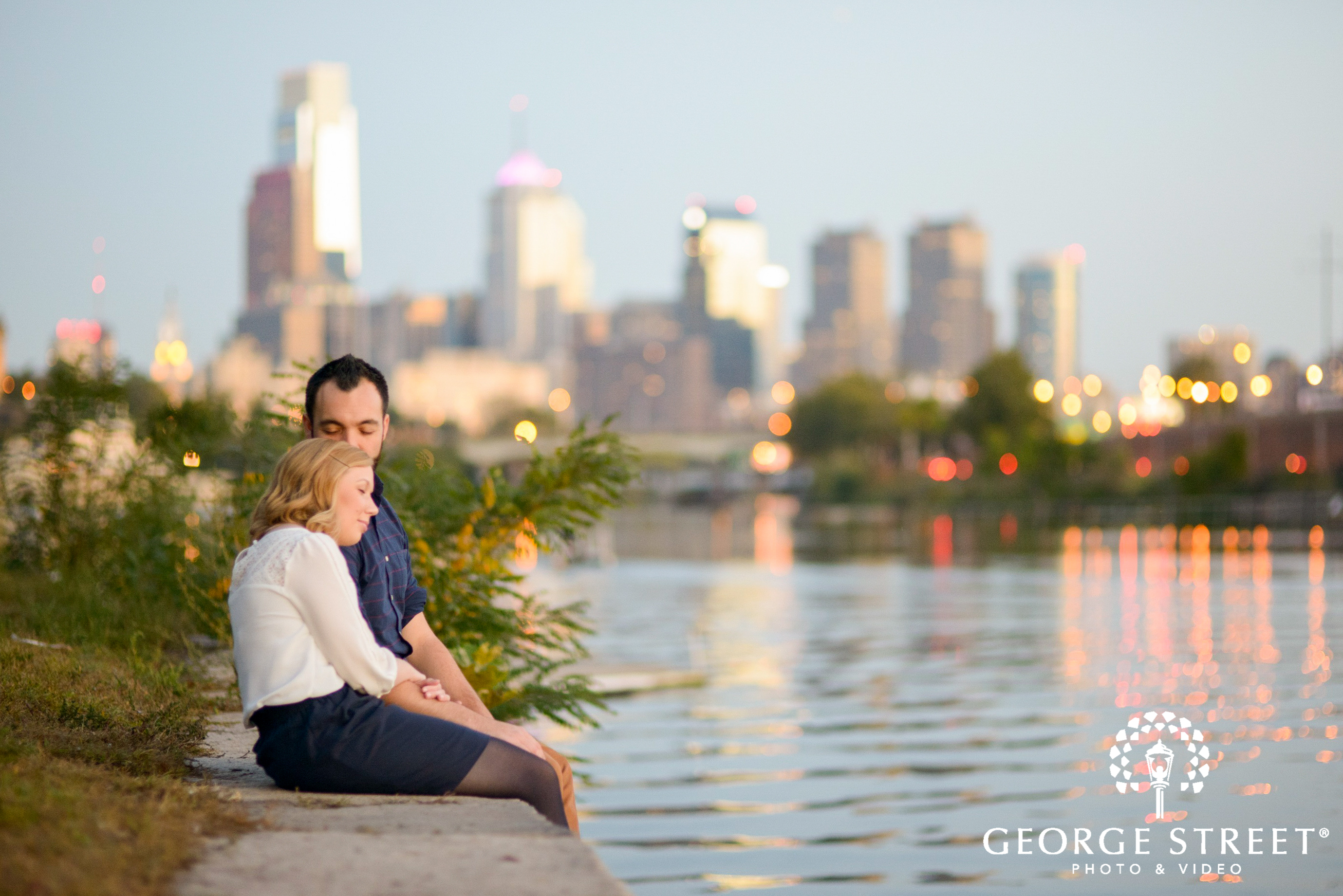 sunset by river engagement session