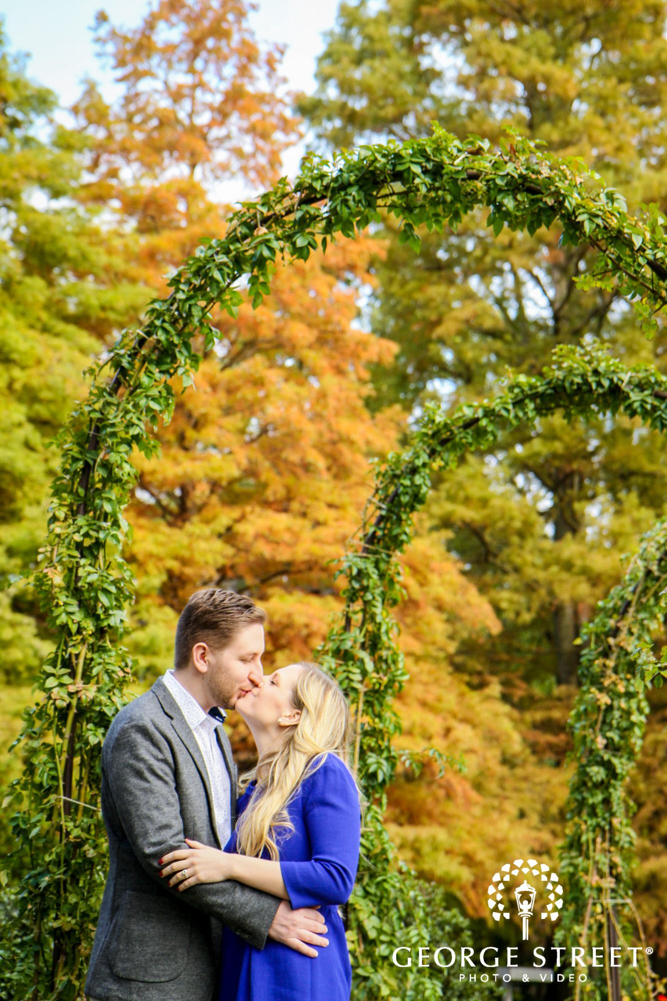 cheerful fall engagement portraits in philadelphia