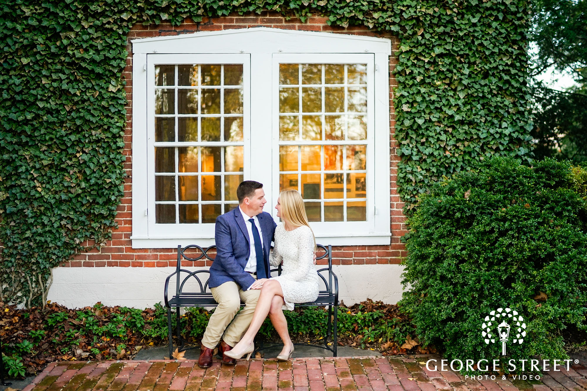 formal engagement portraits in gardens