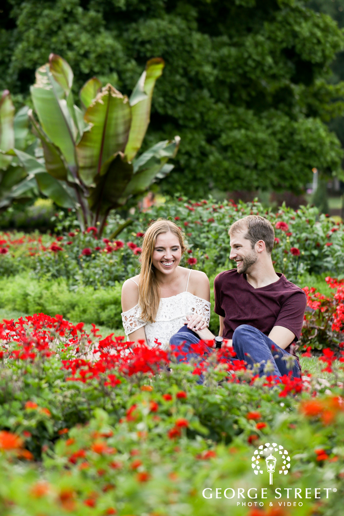 beautiful outdoor longwood gardens candid engagement portrait session  2