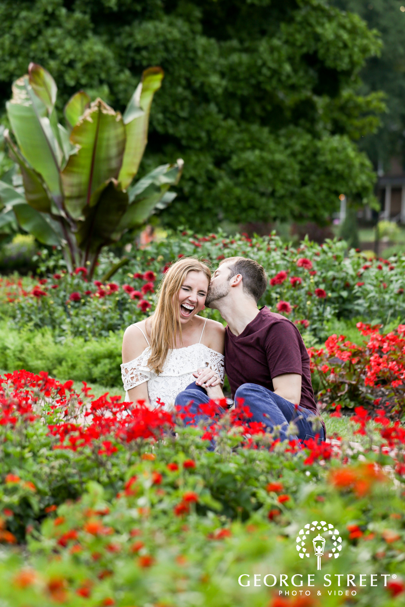 beautiful outdoor longwood gardens candid engagement portrait session