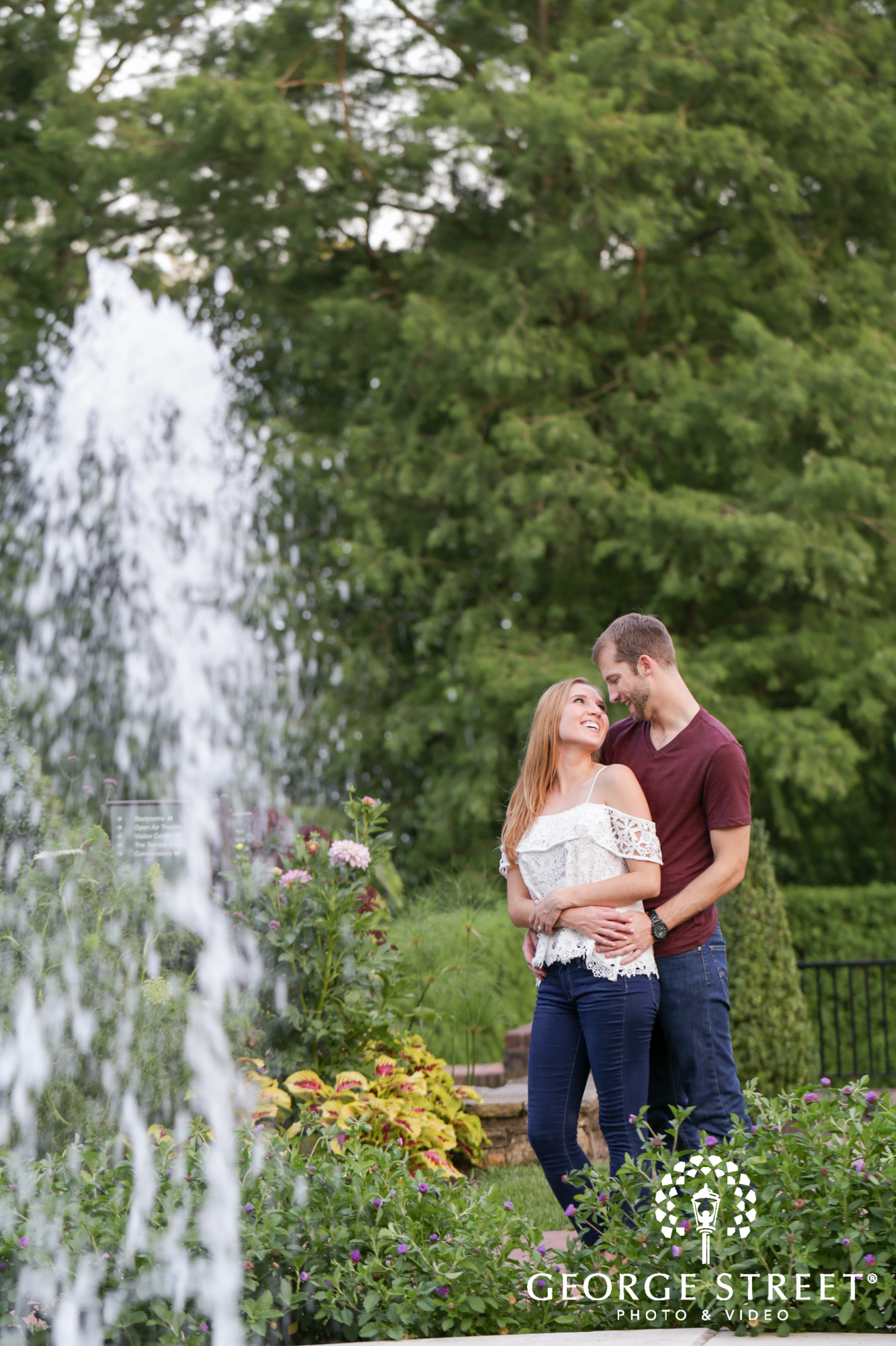 beautiful outdoor longwood gardens fountain engagement portrait session