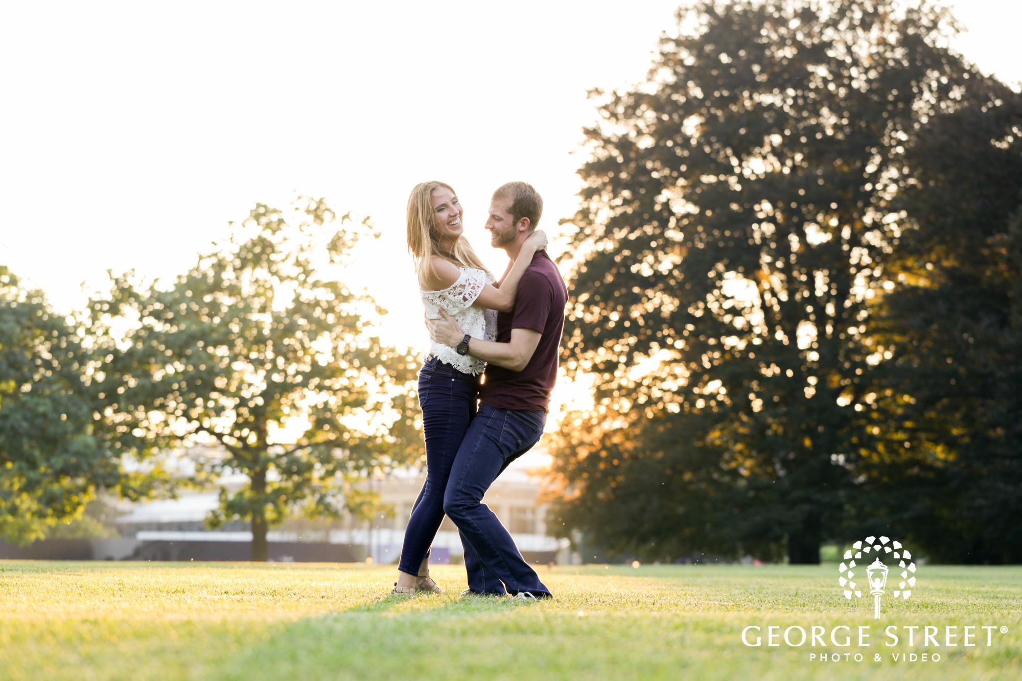 beautiful outdoor longwood gardens golden hour engagement portrait session