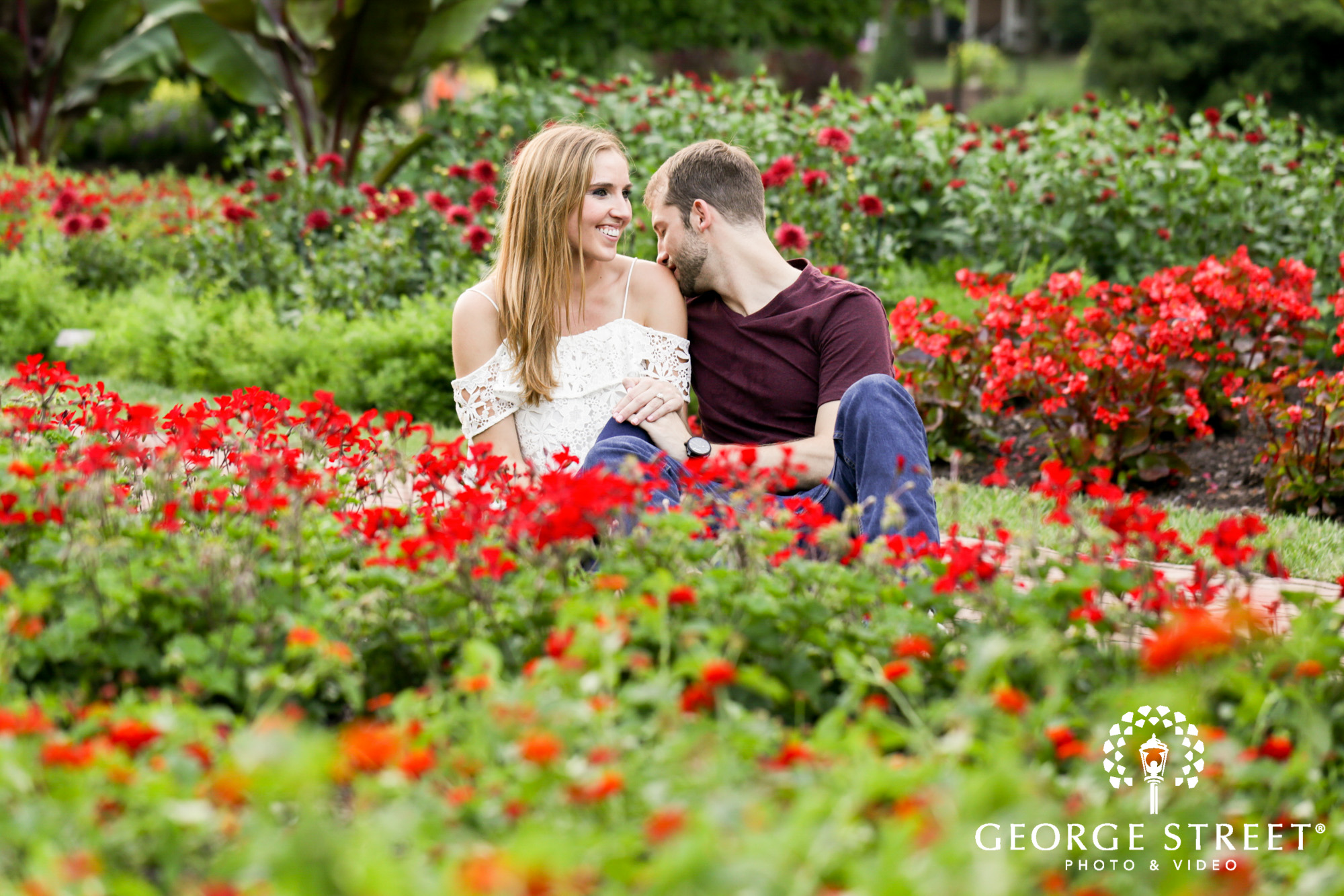 beautiful outdoor summer longwood gardens engagement portrait session