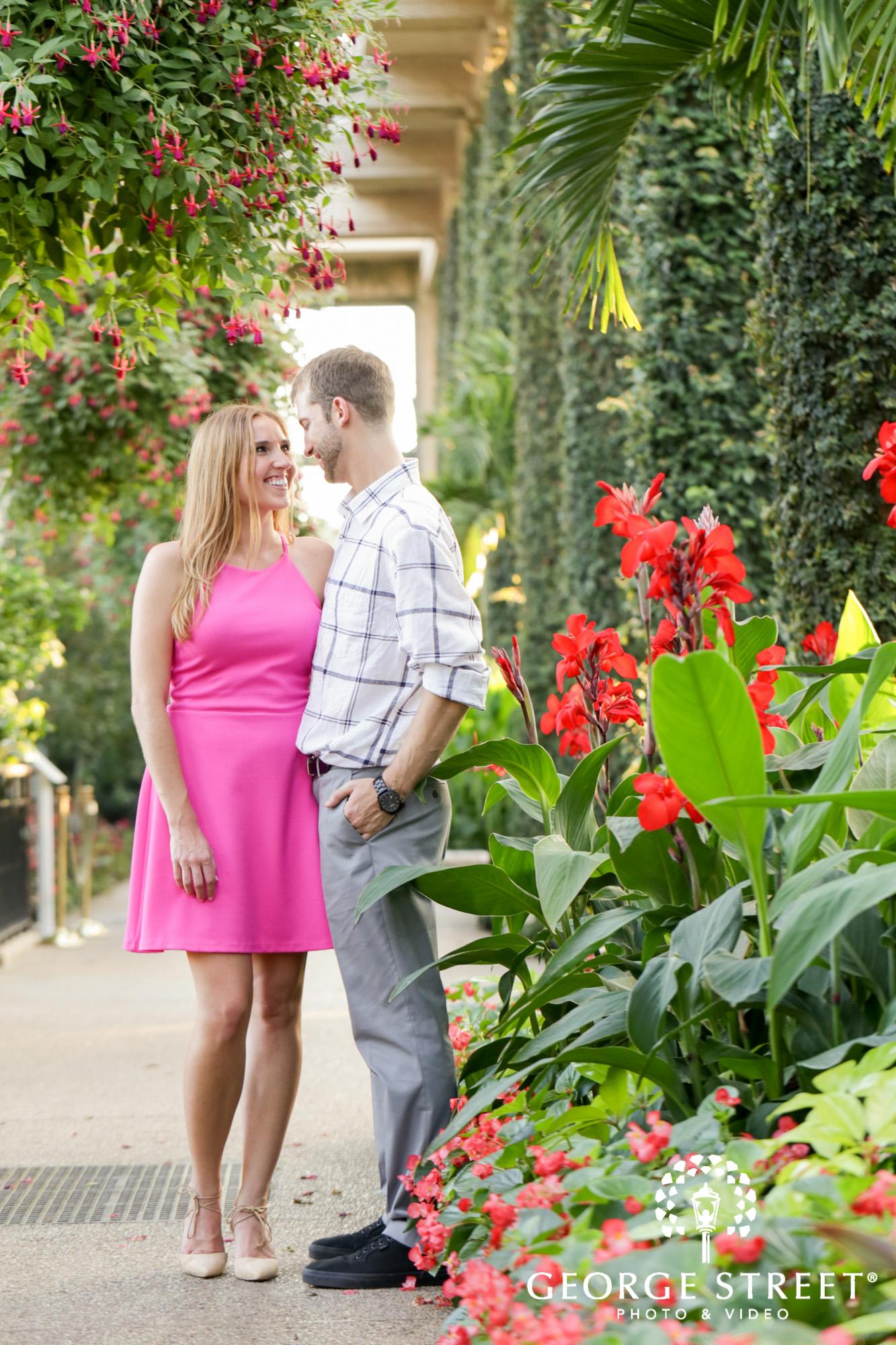 beautiful outdoor vibrant longwood gardens engagement portrait session  4