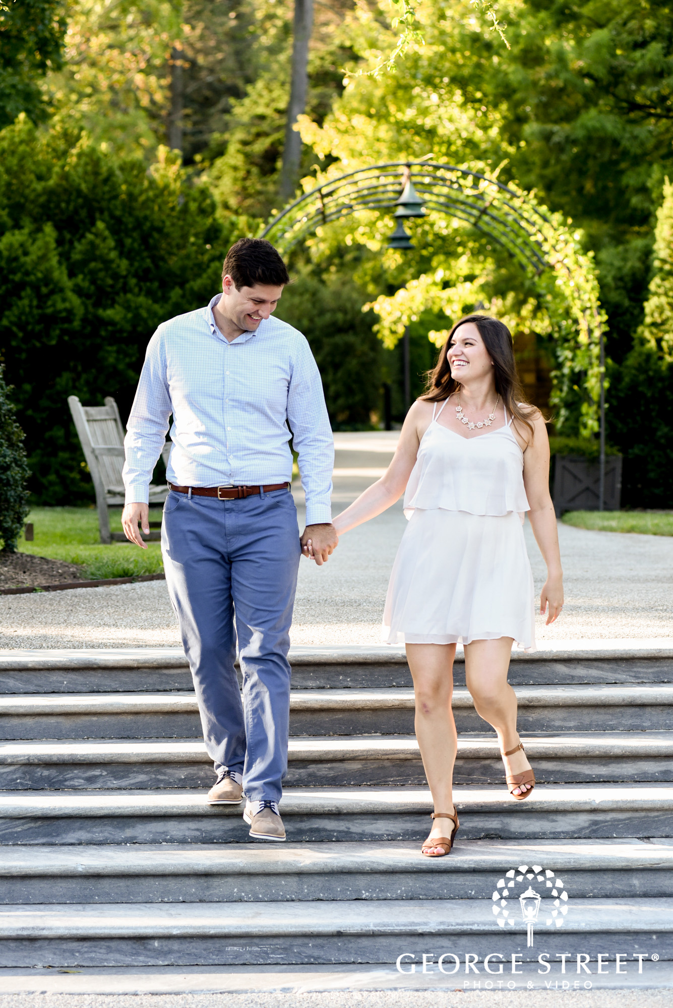 longwood gardens philadelphia summer outdoor engagement photography session candid 2