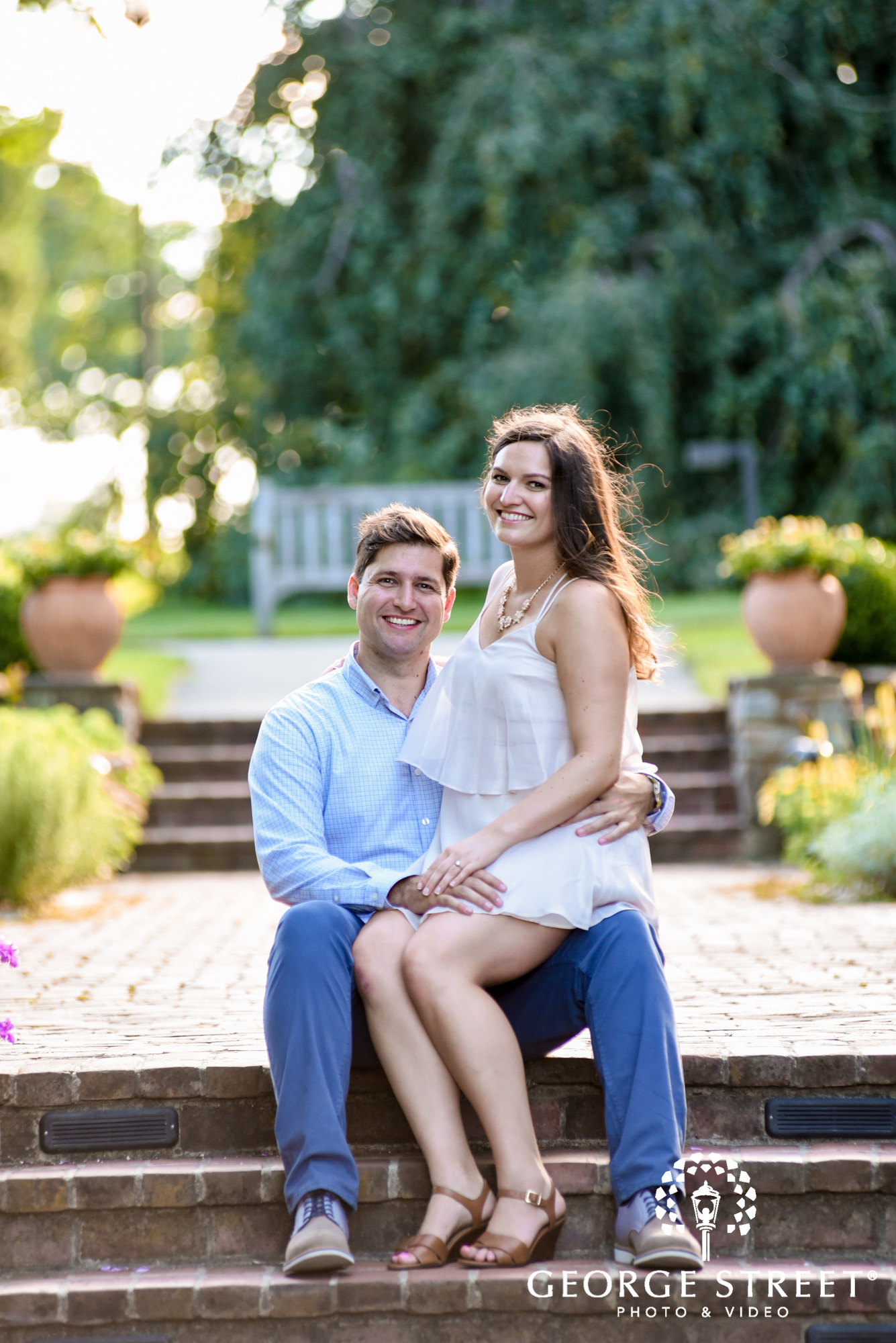 longwood gardens philadelphia summer outdoor engagement photography session candid 5