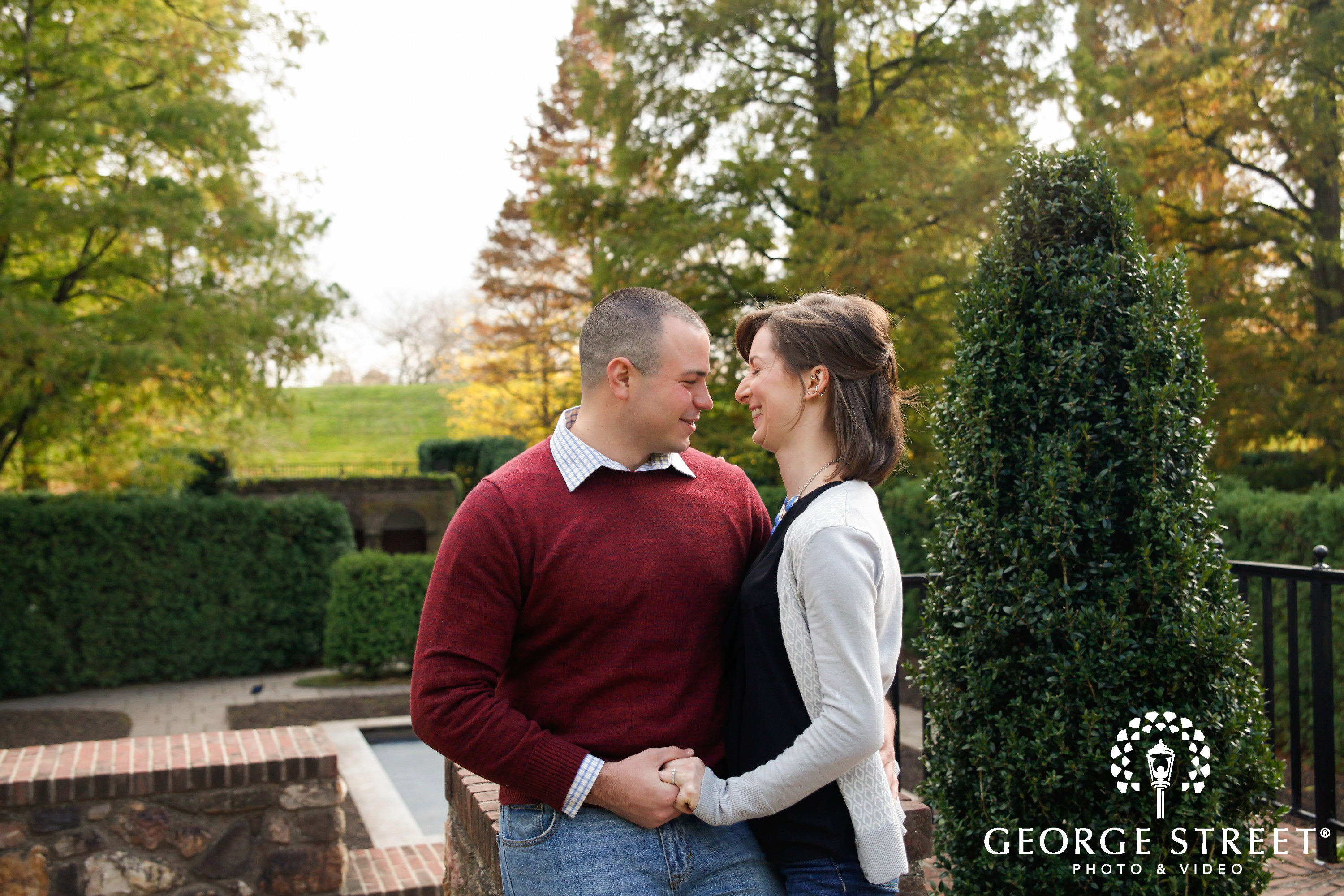 couple laughing in longwood gardens
