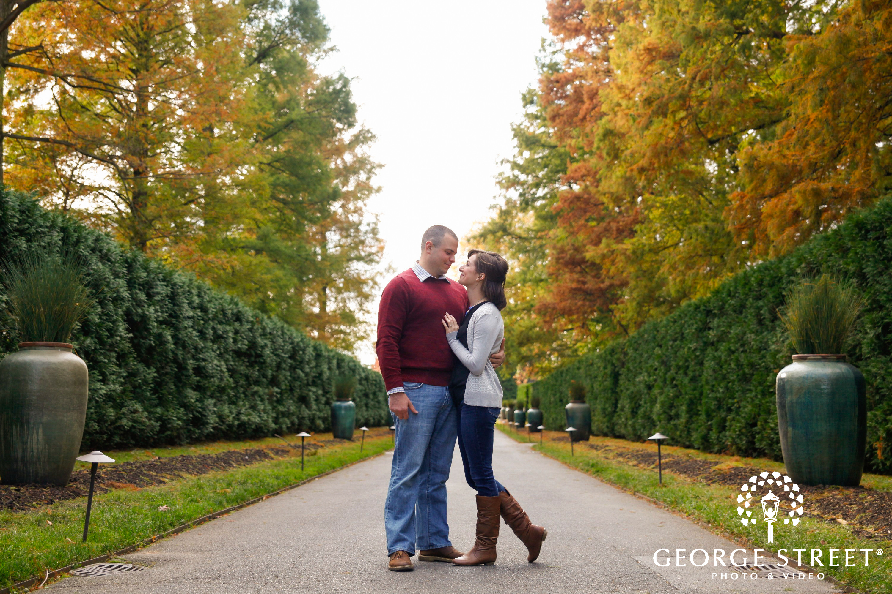 fall engagement session longwood gardens